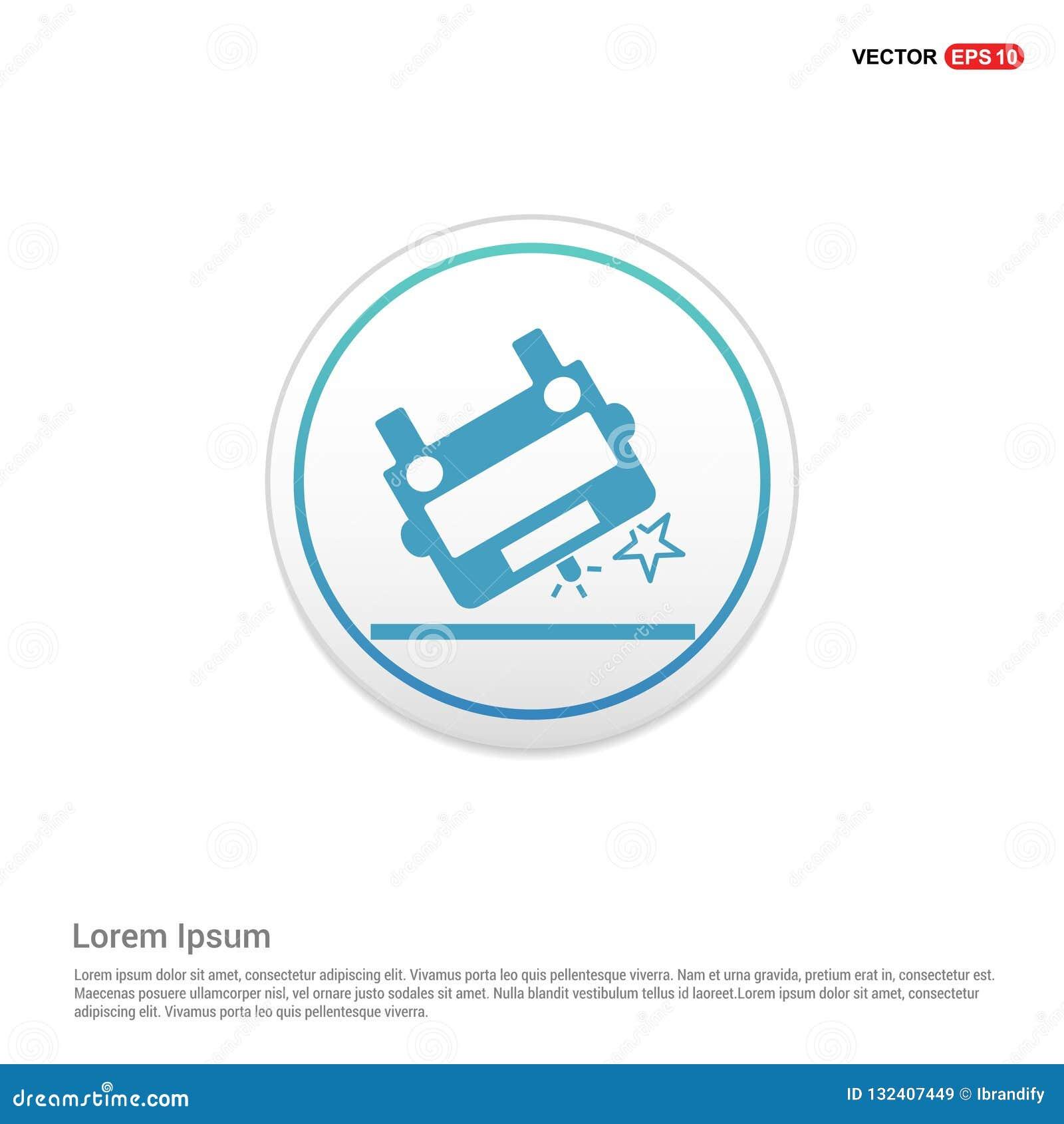 Het pictogram van de ziekenwagenneerstorting - witte cirkelknoop