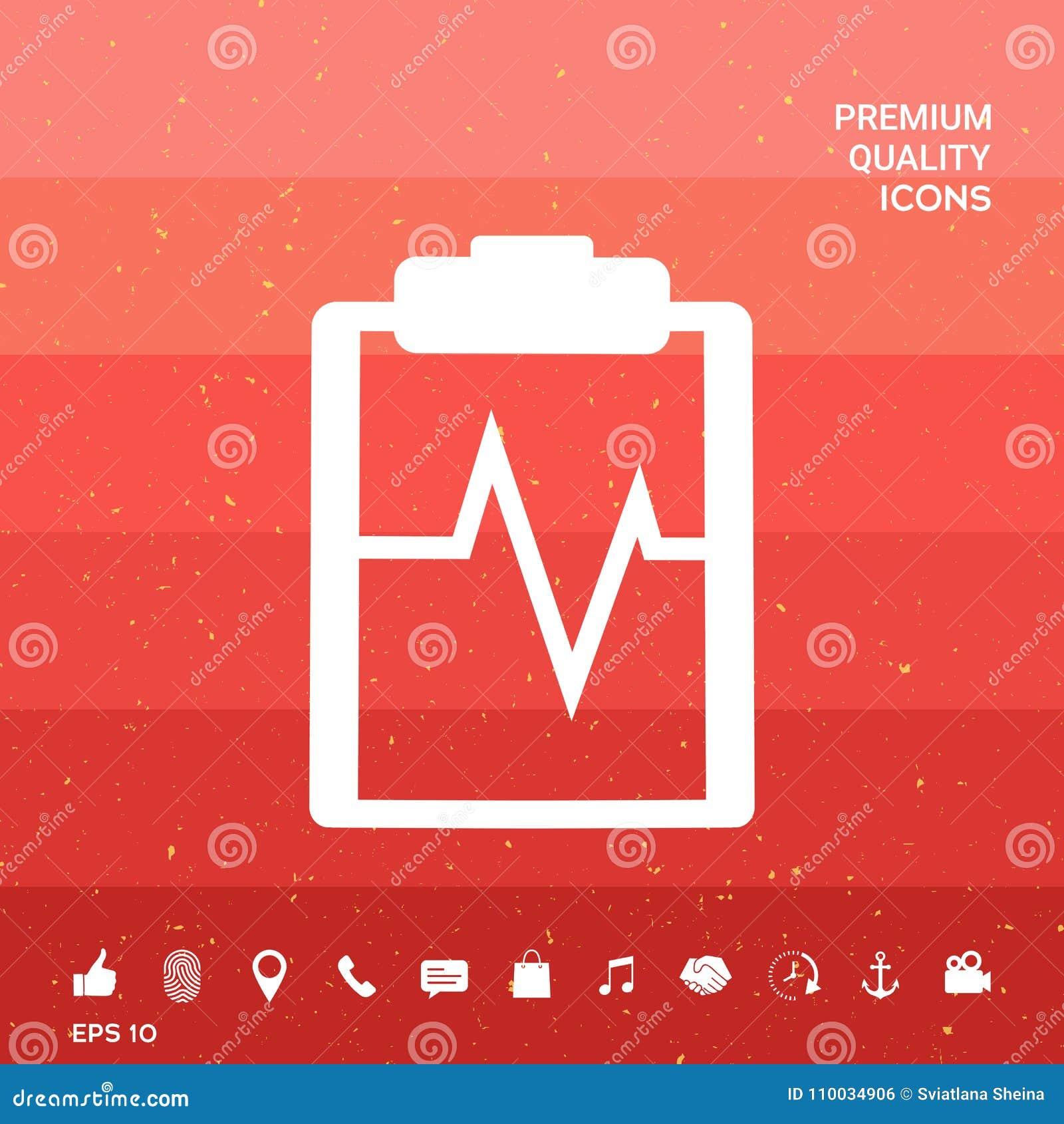 Het pictogram van het elektrocardiogramsymbool