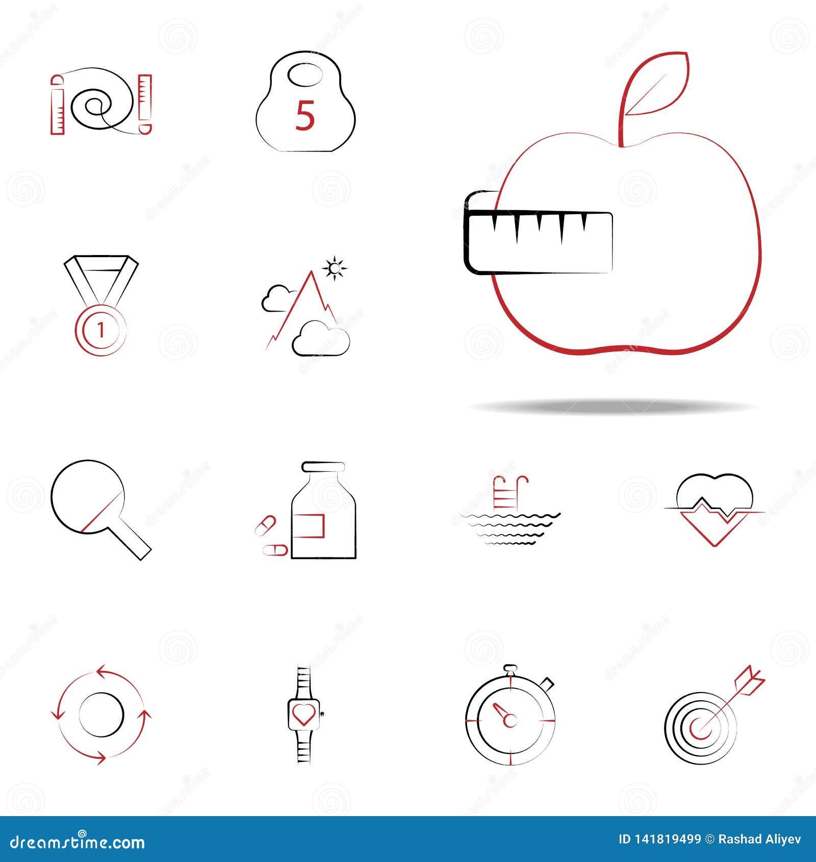 Het pictogram van het fruitdieet Voor Web wordt geplaatst dat en het mobiele algemene begrip van geschiktheidspictogrammen