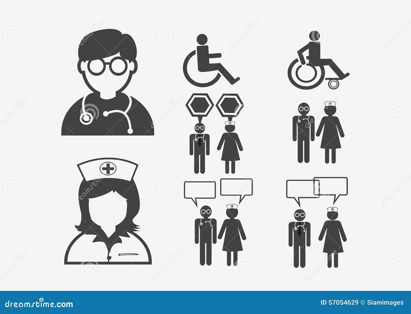 Het Pictogram van het het Tekensymbool van Patient Sick Icon van de artsenverpleegster