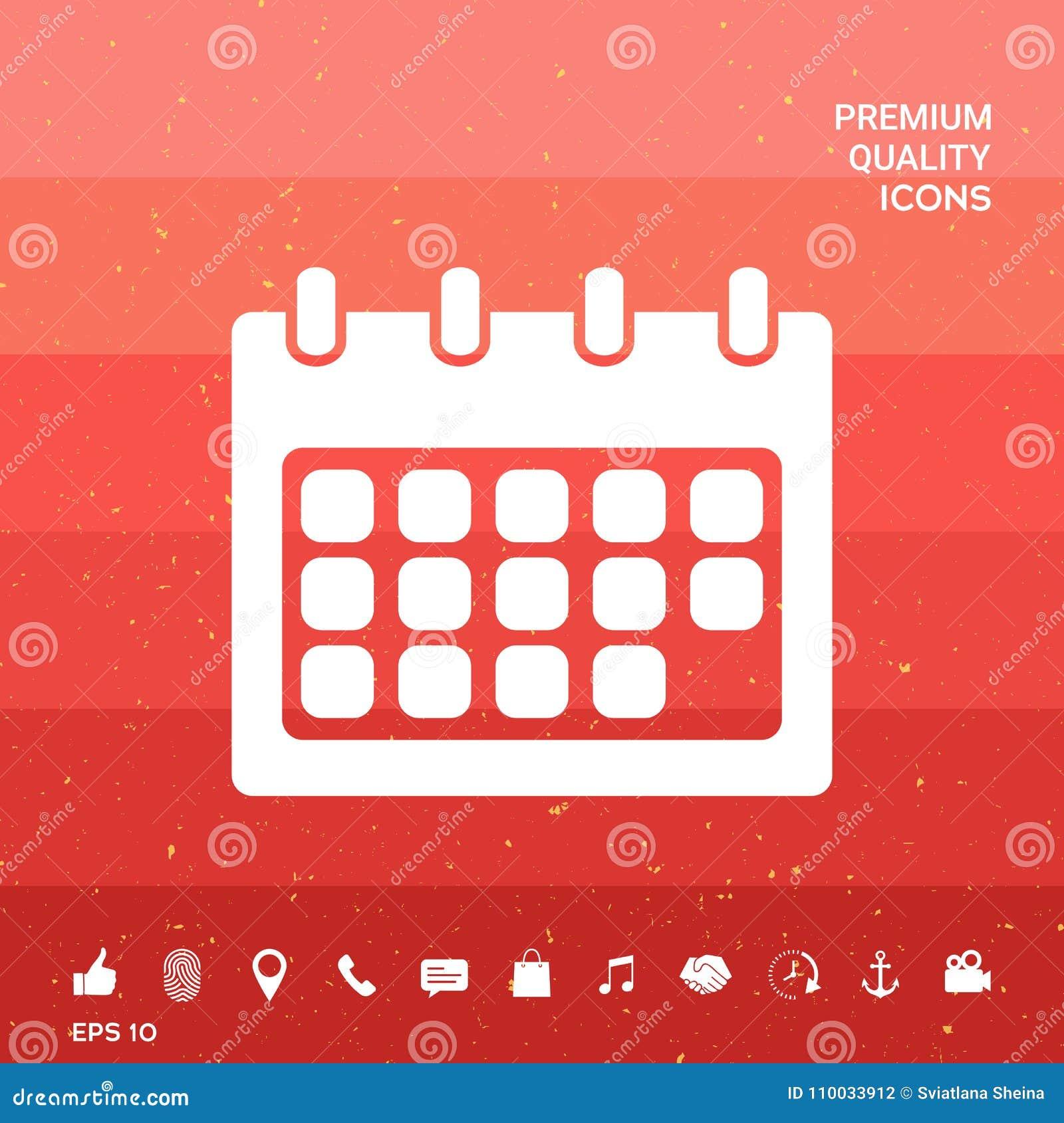 Het pictogram van het kalendersymbool