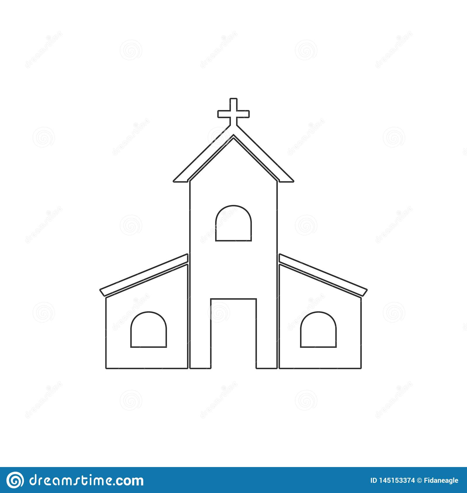 Het pictogram van het kerkoverzicht Elementen van Pasen-illustratiepictogram De tekens en de symbolen kunnen voor Web, embleem, m
