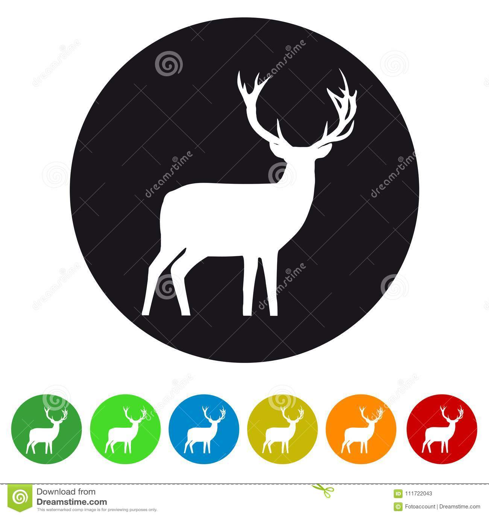 Het Pictogram van het Kerstmisrendier - Kleurrijke VectordieIllustratie - op Wit wordt geïsoleerd