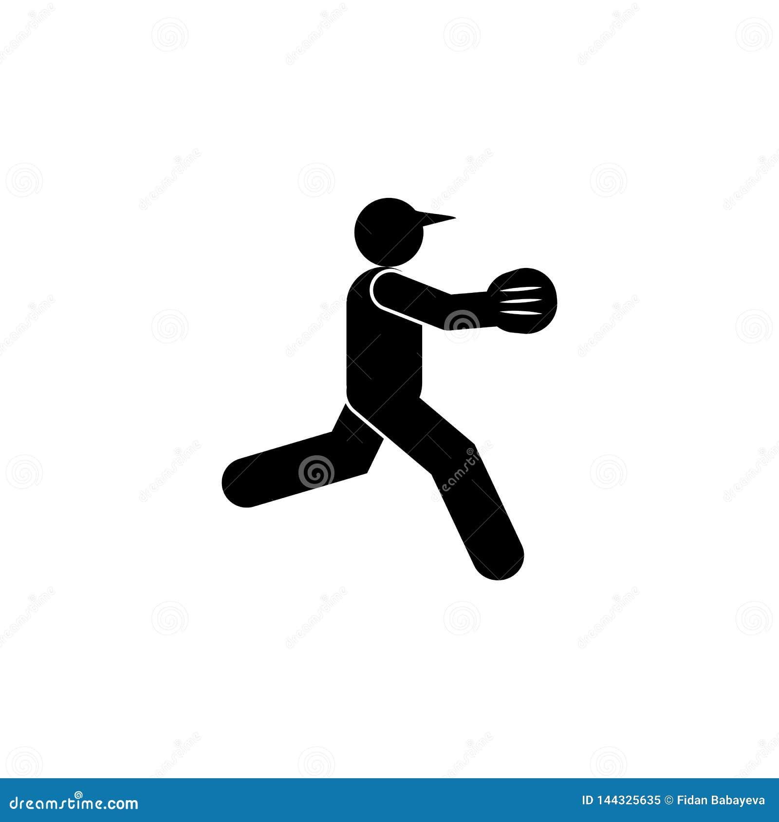 Het pictogram van het mensenhonkbal glyph r De tekens en de symbolen kunnen voor Web, embleem, mobiele toepassing, UI worden gebr