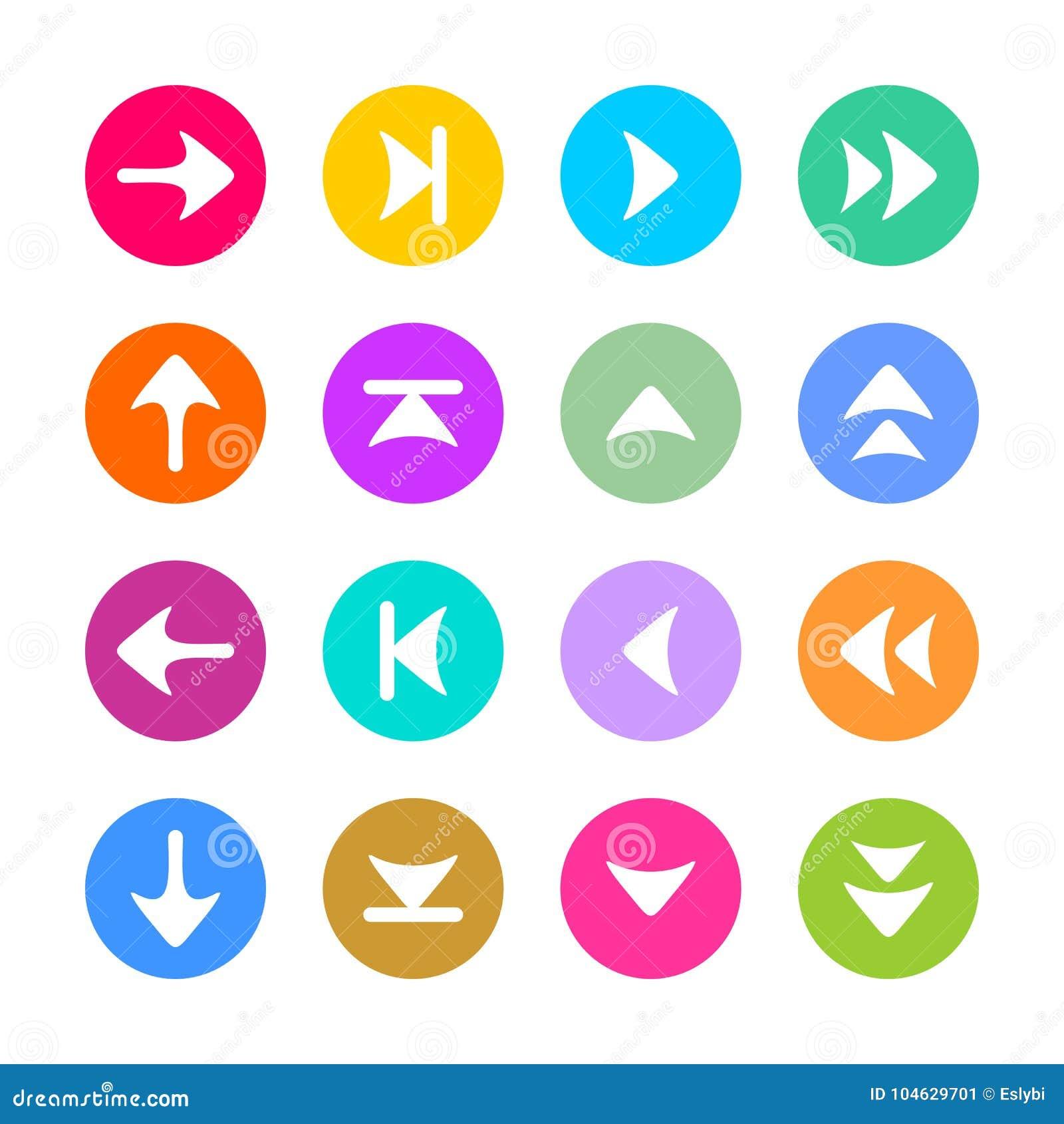Download Het Pictogram Van Het Pijlteken In Vlakke Stijl Wordt Geplaatst Die Vector Illustratie - Illustratie bestaande uit teken, pijl: 104629701