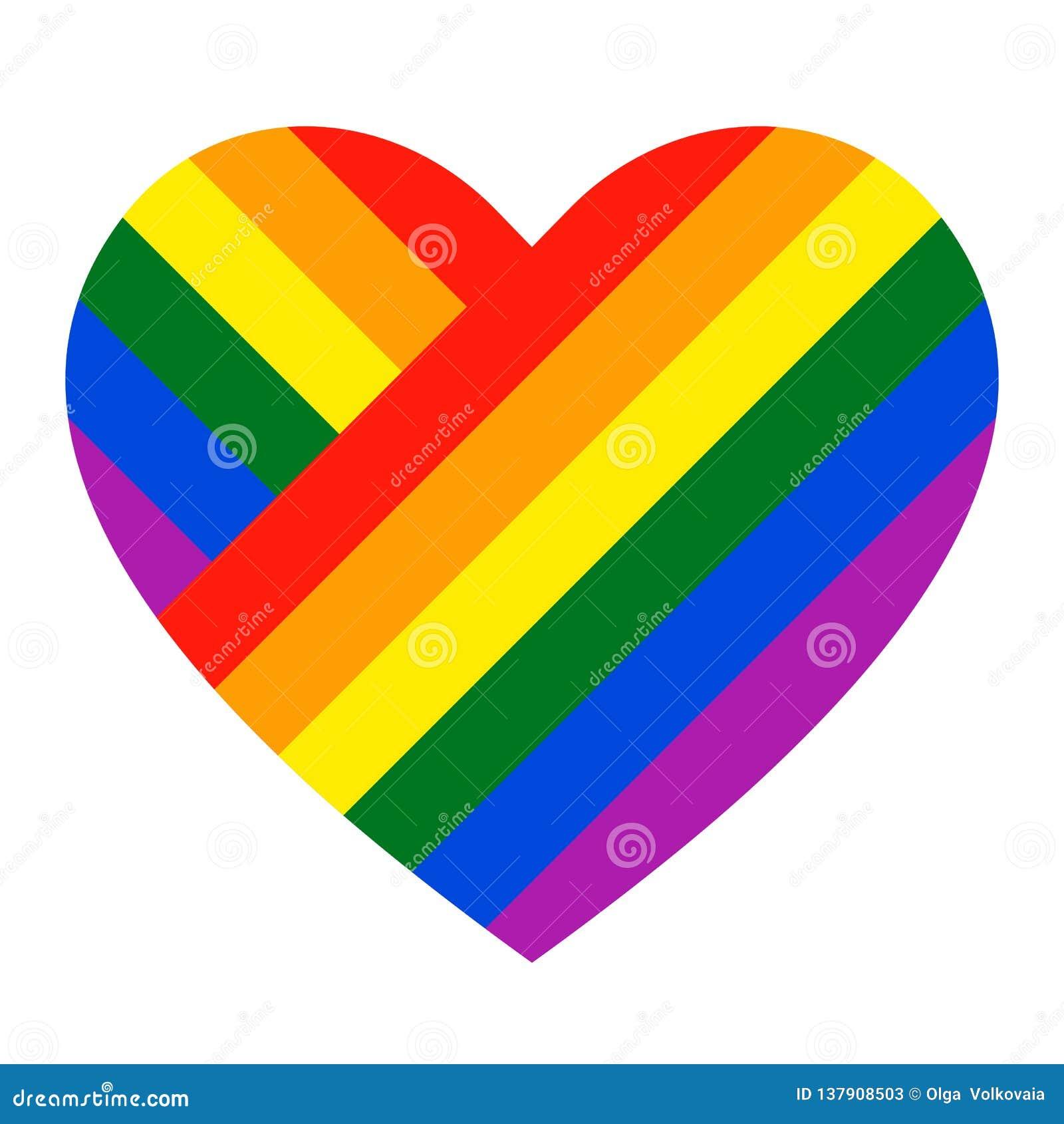 Het pictogram van het regenbooghart LGBT-vlag, symbool