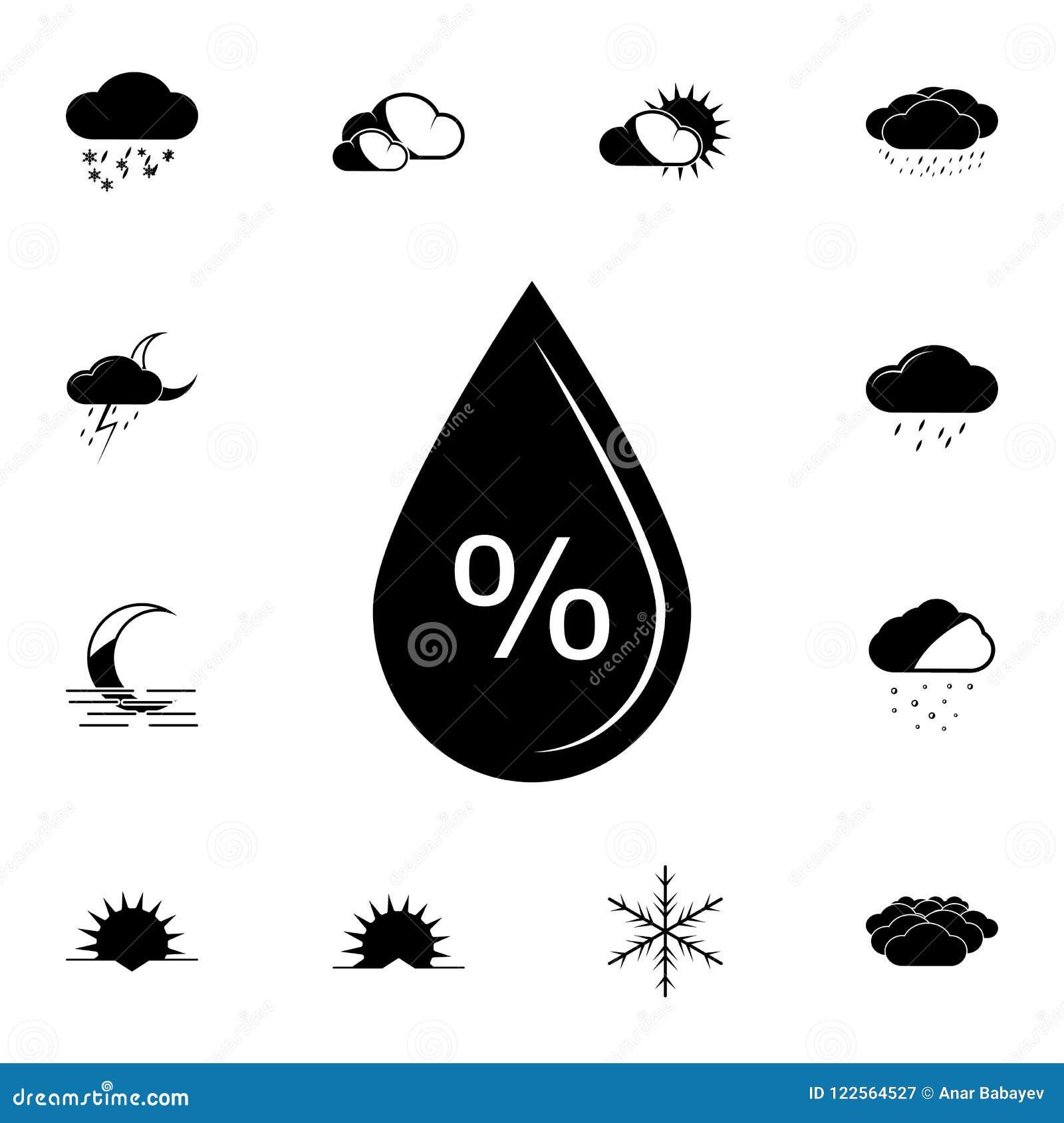 Het pictogram van het vochtigheidspercentage Gedetailleerde reeks Weerpictogrammen Premie grafisch ontwerp Één van de inzamelings