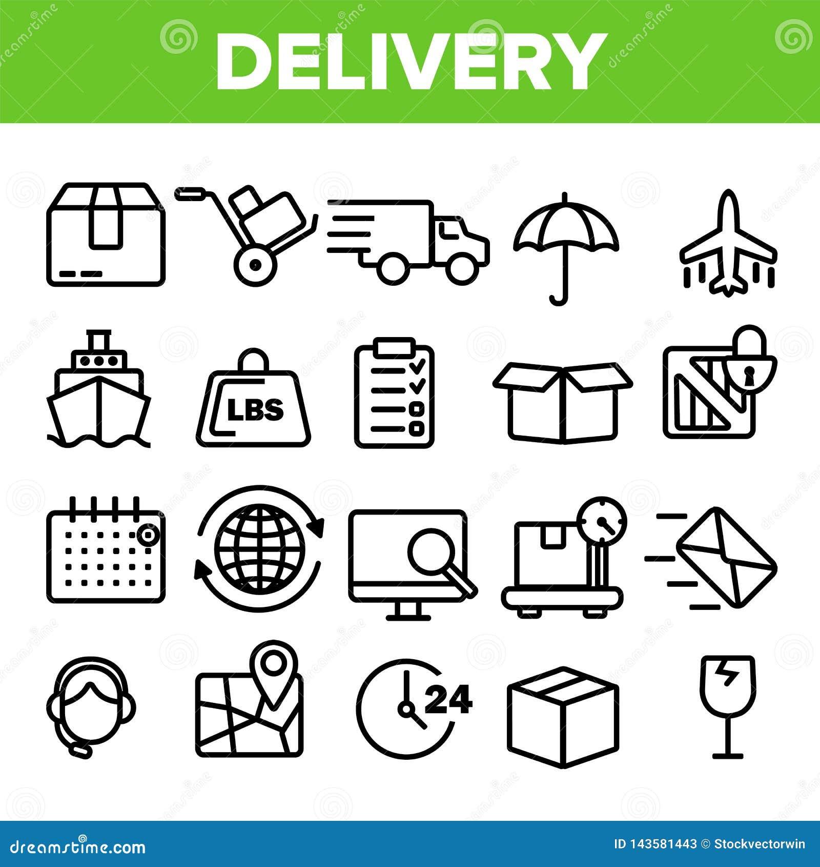 Het Pictogram Vastgestelde Vector van de leveringslijn De snelle Vervoersdienst Levering 24 Logistieke ondersteuningpictogrammen