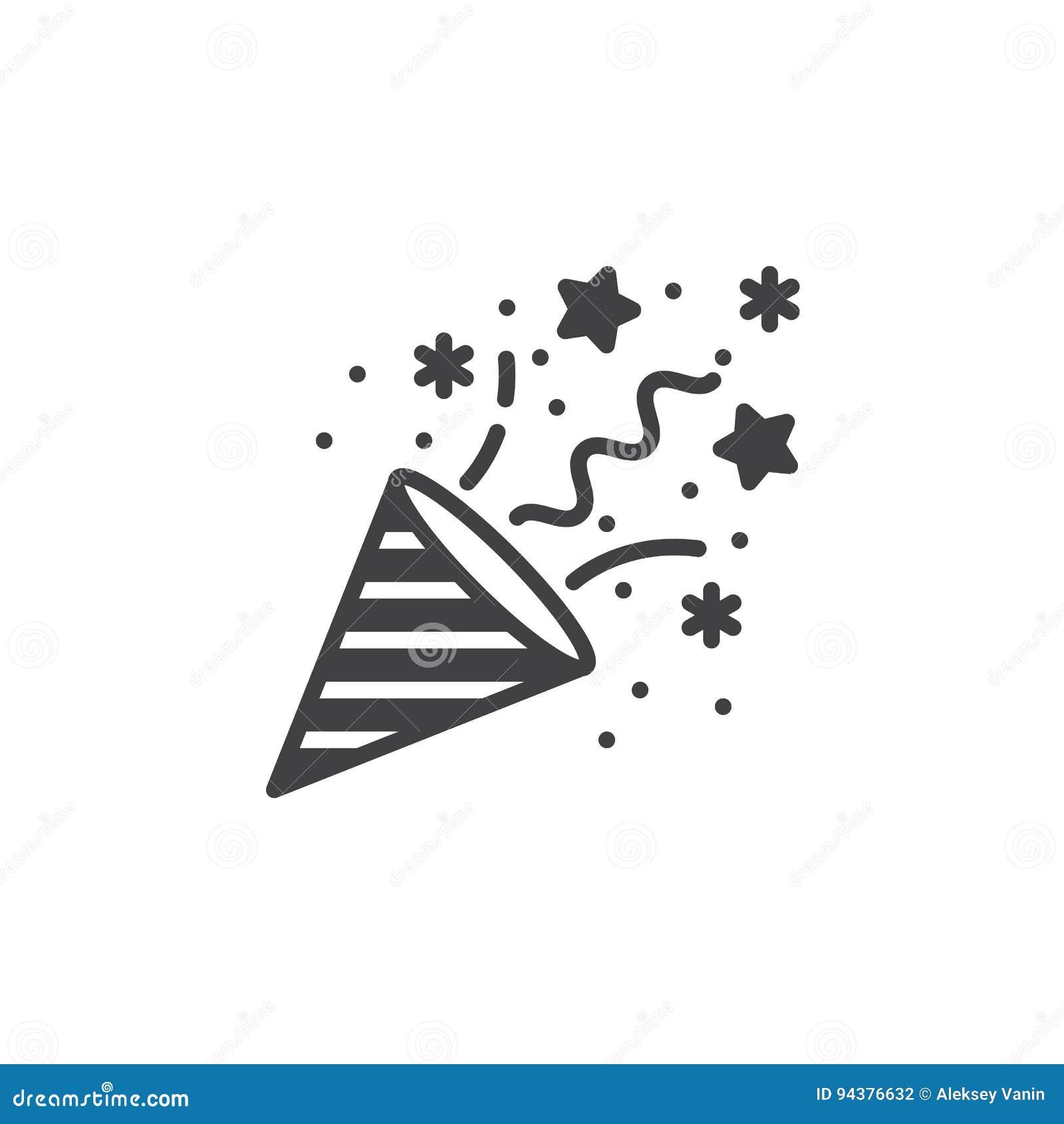 Het pictogram vector, gevuld vlak teken van de confettienpopcornpan, stevig pictogram i