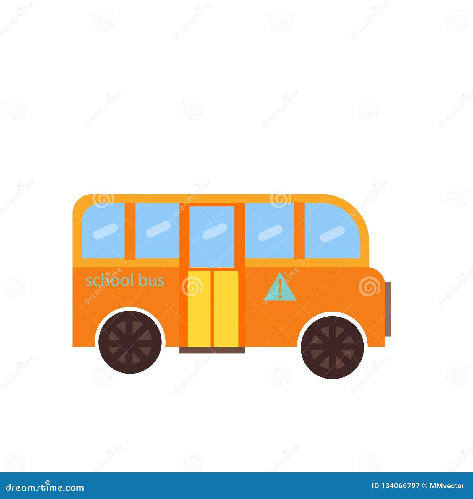 Het pictogram vectordieteken en symbool van de schoolbus op witte achtergrond, het embleemconcept wordt geïsoleerd van de Schoolb