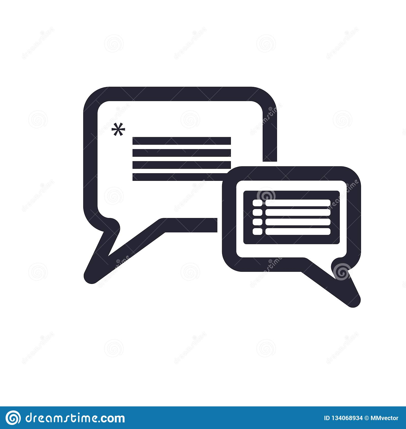 Het pictogram vectordieteken en symbool van de toespraakbel op witte achtergrond, het embleemconcept wordt geïsoleerd van de Toes