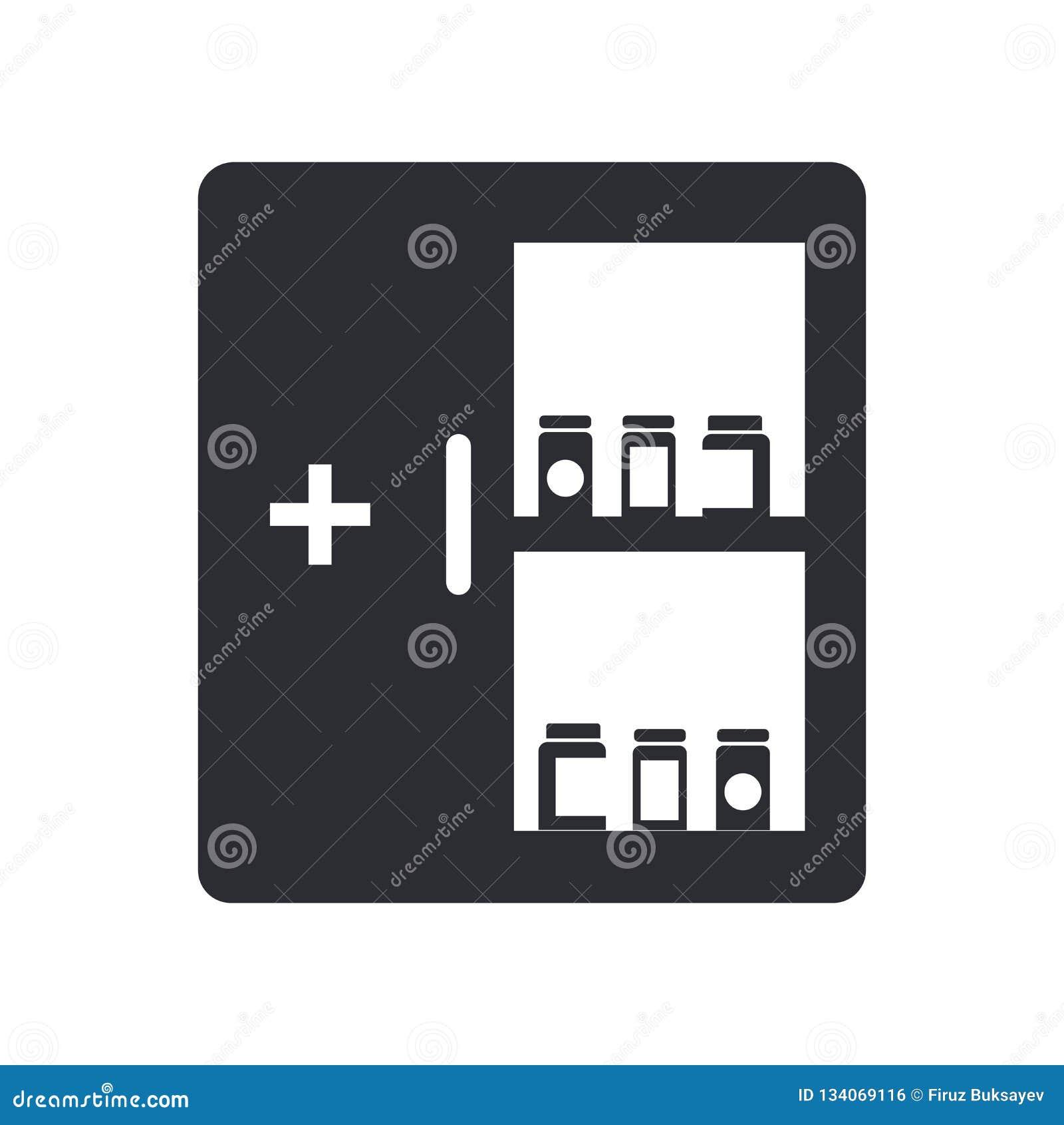 Het pictogram vectordieteken en symbool van het geneeskundekabinet op witte achtergrond, het embleemconcept wordt geïsoleerd van