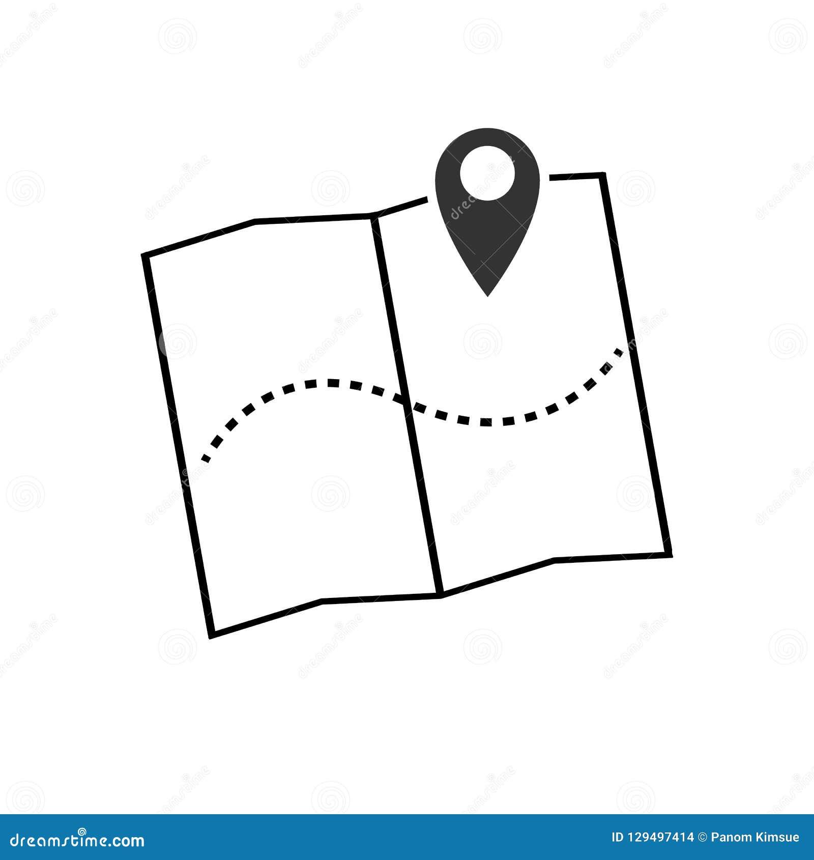 Het pictogram vectorillustratie van de kaartwijzer GPS-plaatssymbool met met speldwijzer voor grafisch ontwerp, embleem, website,