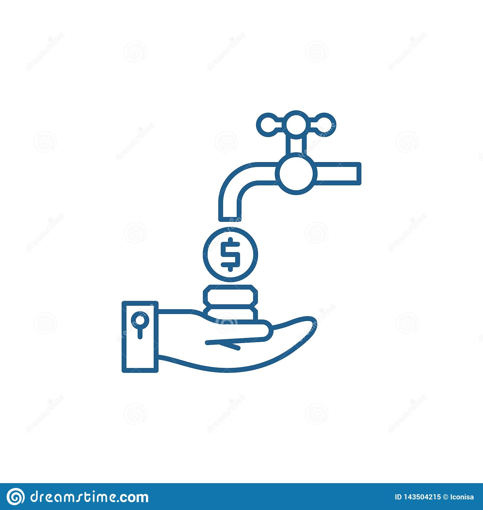 Het pictogramconcept van de cash flowlijn Cash flow vlak vectorsymbool, teken, overzichtsillustratie