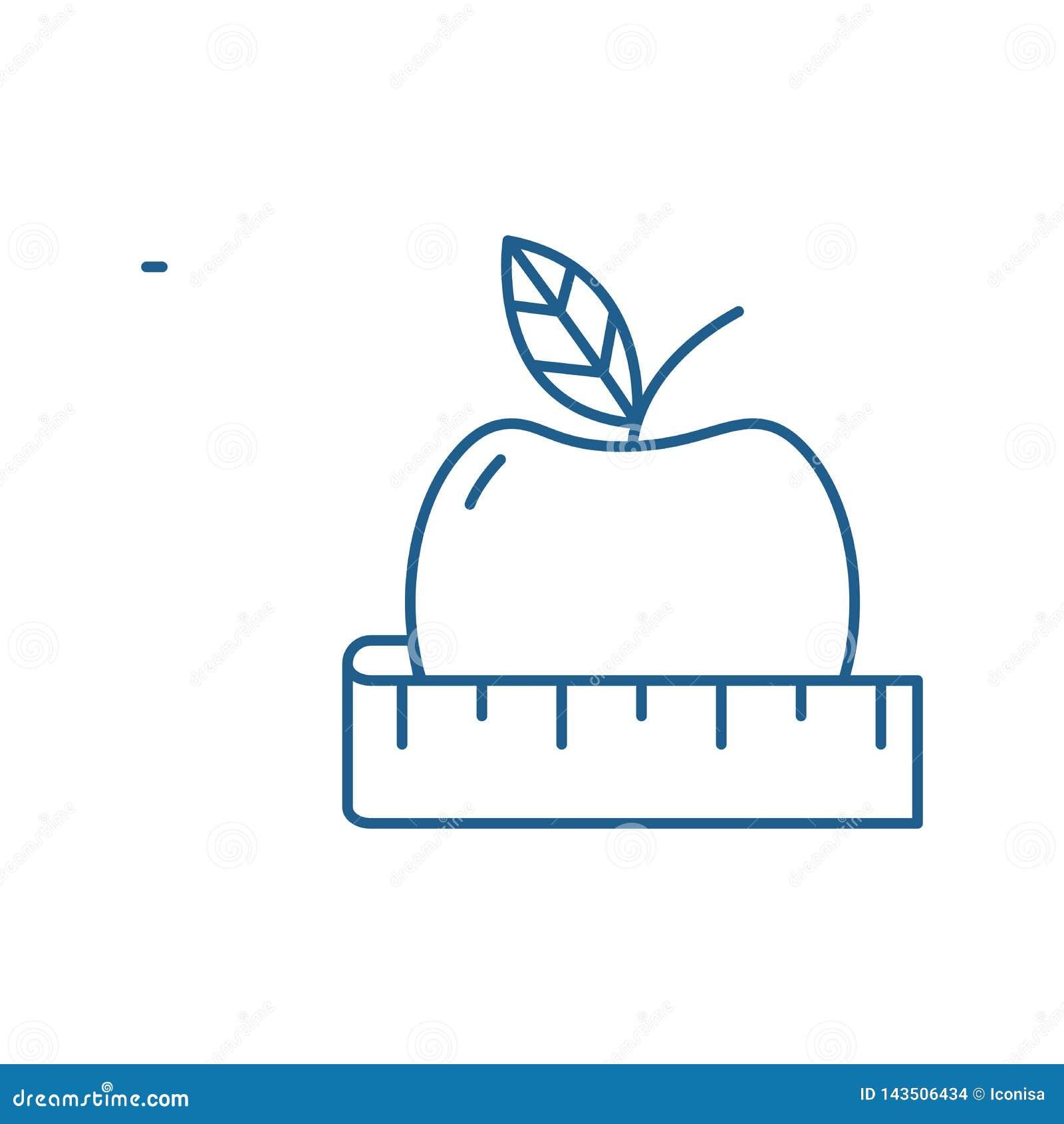 Het pictogramconcept van de dieetlijn Dieet vlak vectorsymbool, teken, overzichtsillustratie