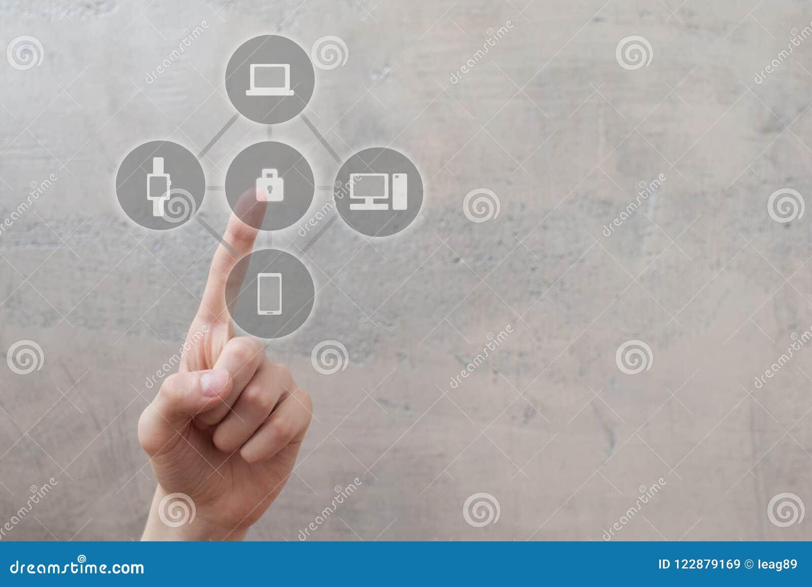 Het pictogramknoop van het vinger dringende hangslot