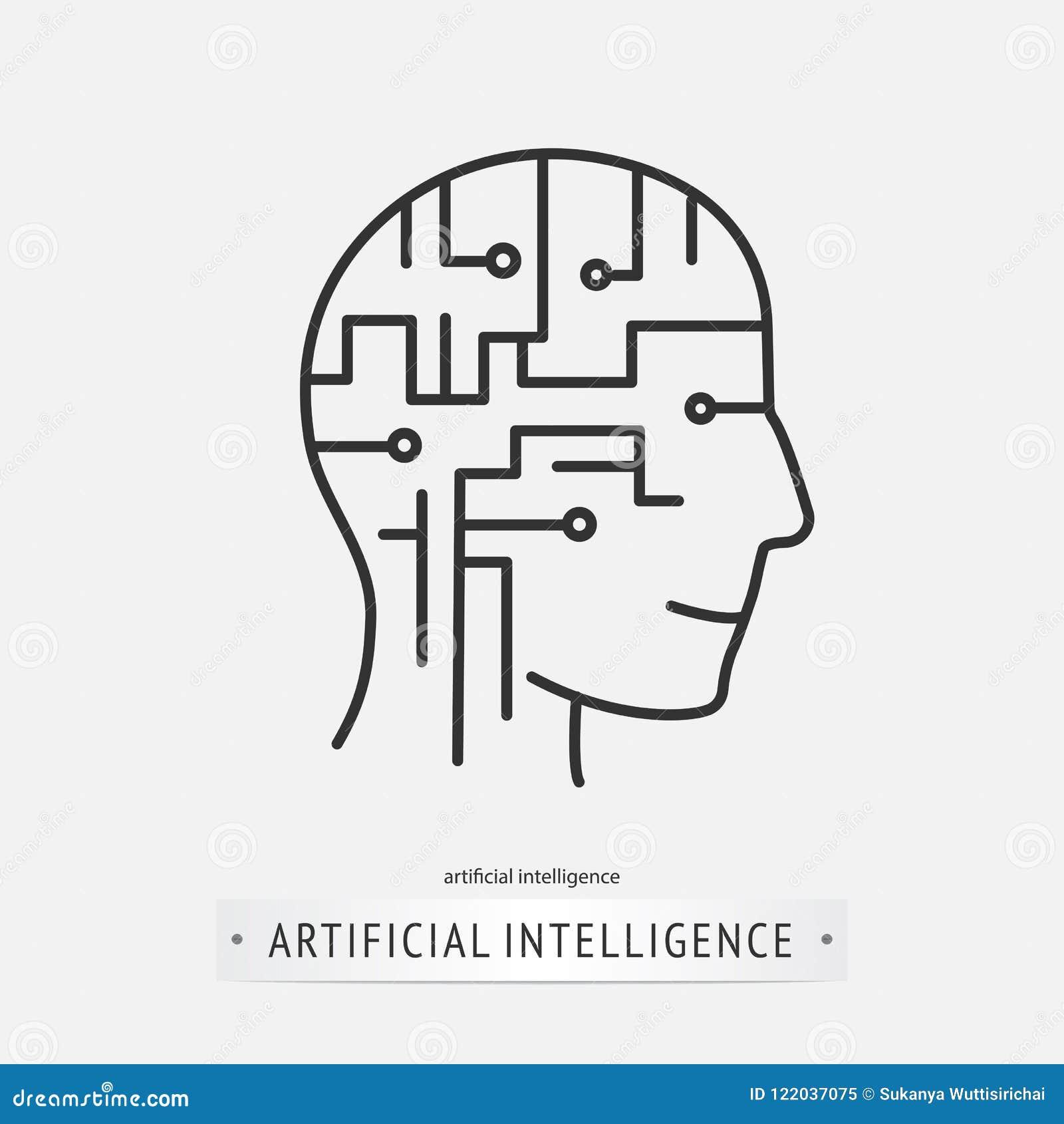 Het pictogramontwerp van de hersenenkunstmatige intelligentie