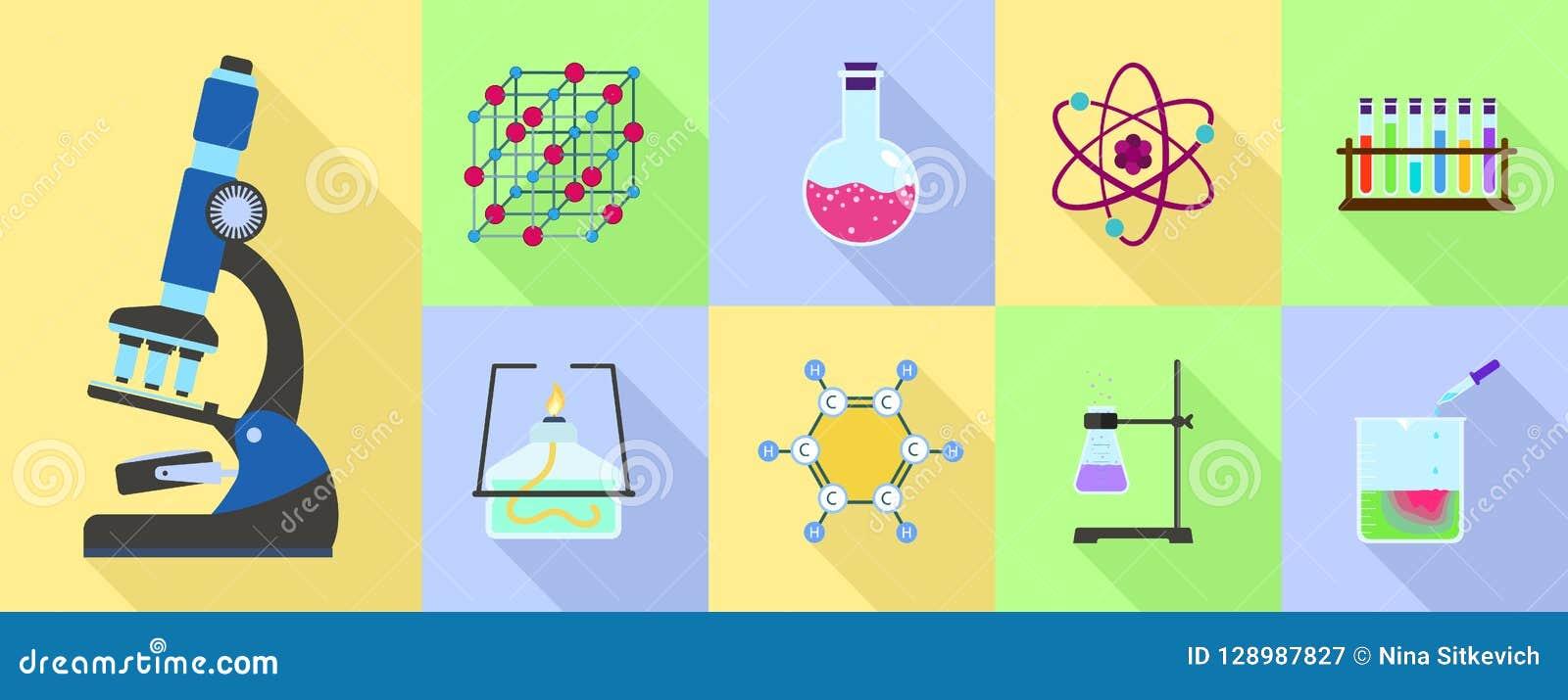 Het pictogramreeks van de chemiewetenschap, vlakke stijl