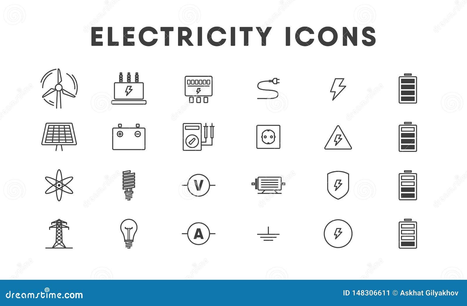 Het pictogramreeks van de elektriciteits dunne lijn energetica Vector