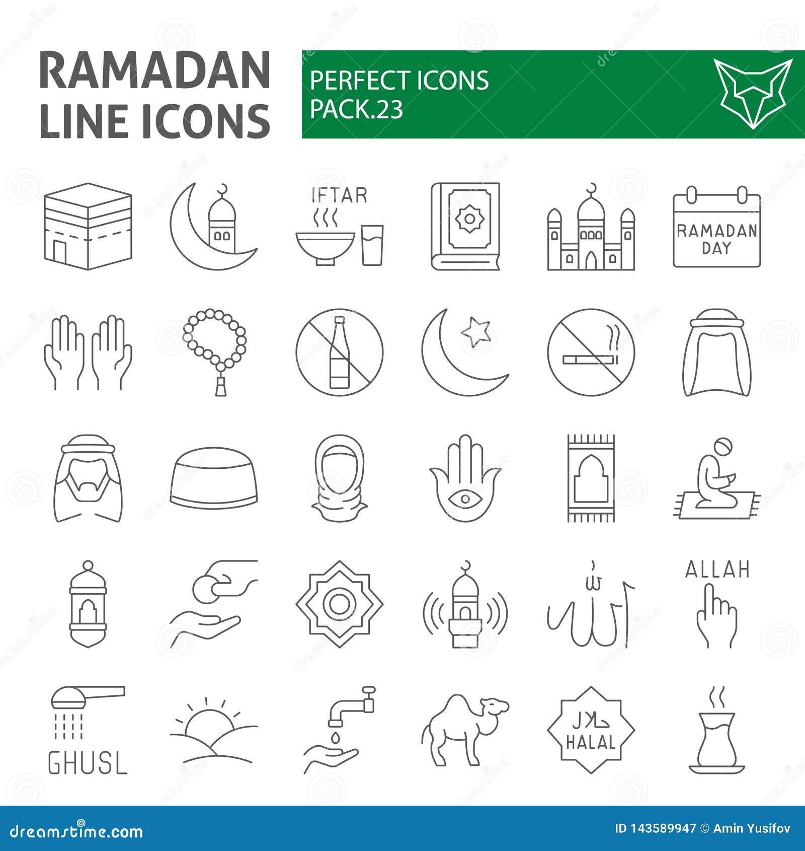 Het pictogramreeks van de Ramadan ondertekent de dunne lijn, Islamitische symboleninzameling, vectorschetsen, embleemillustraties