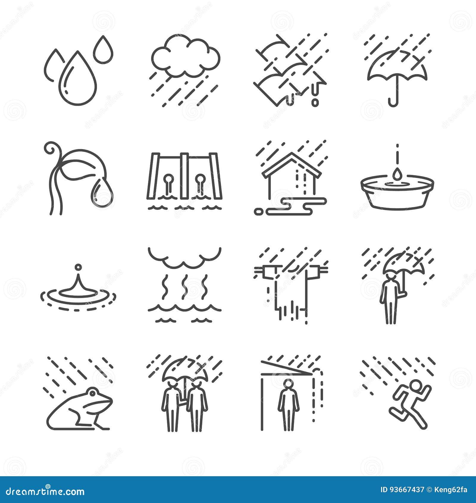 Het pictogramreeks van de regen vectorlijn Omvatte de pictogrammen als regen, paraplu, water, waterdaling en meer
