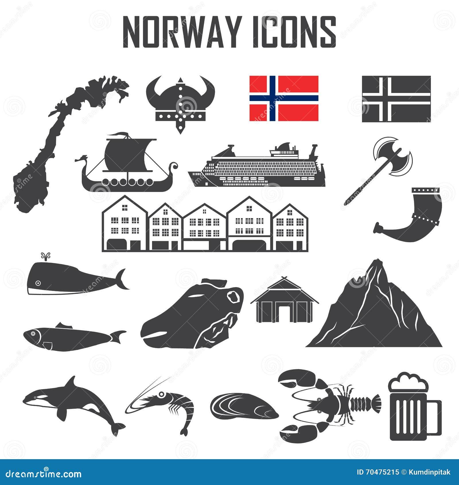Het pictogramreeks van Noorwegen