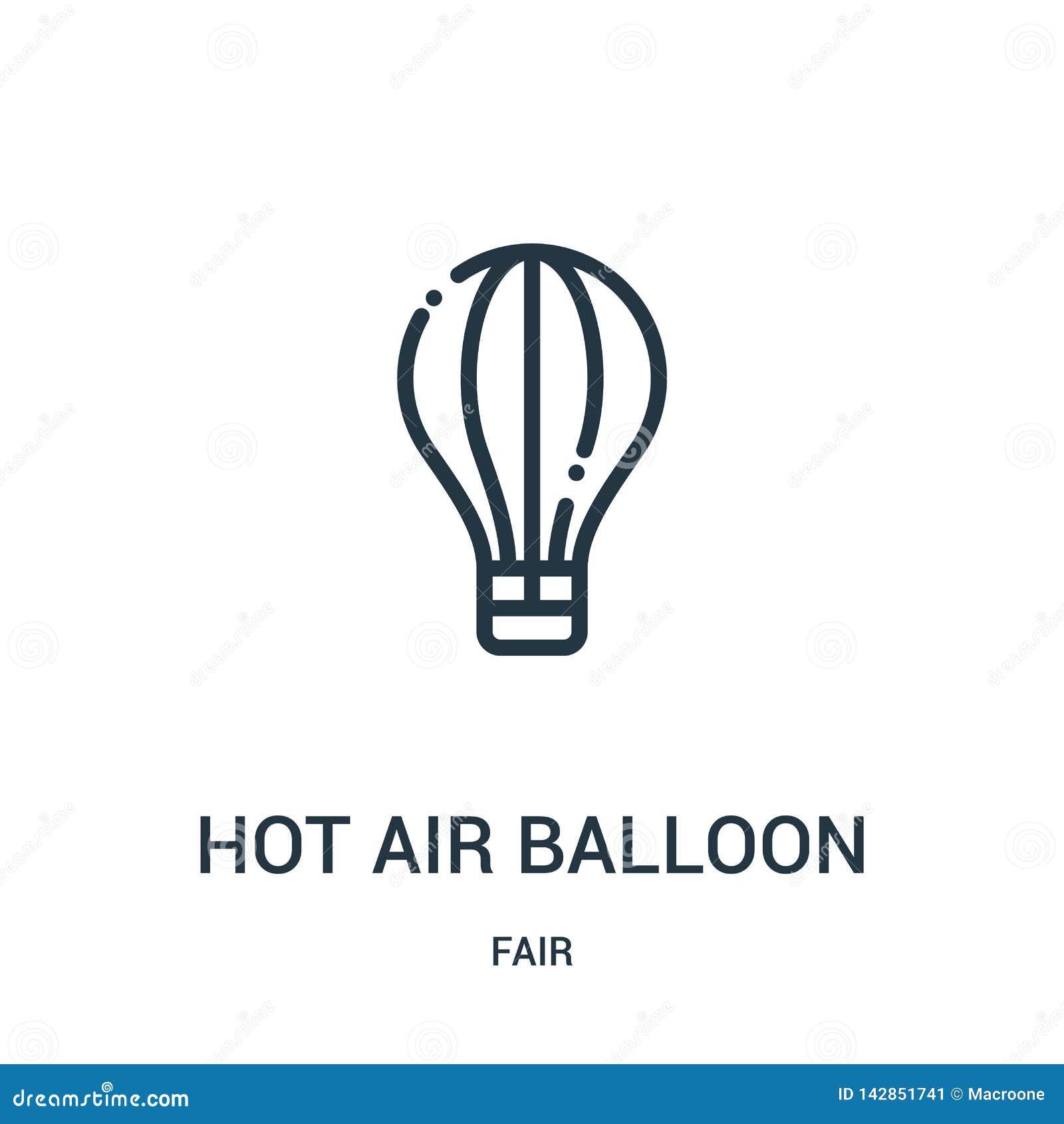 Het pictogramvector van de hete luchtballon van eerlijke inzameling Dunne van het de ballonoverzicht van de lijn hete lucht het p