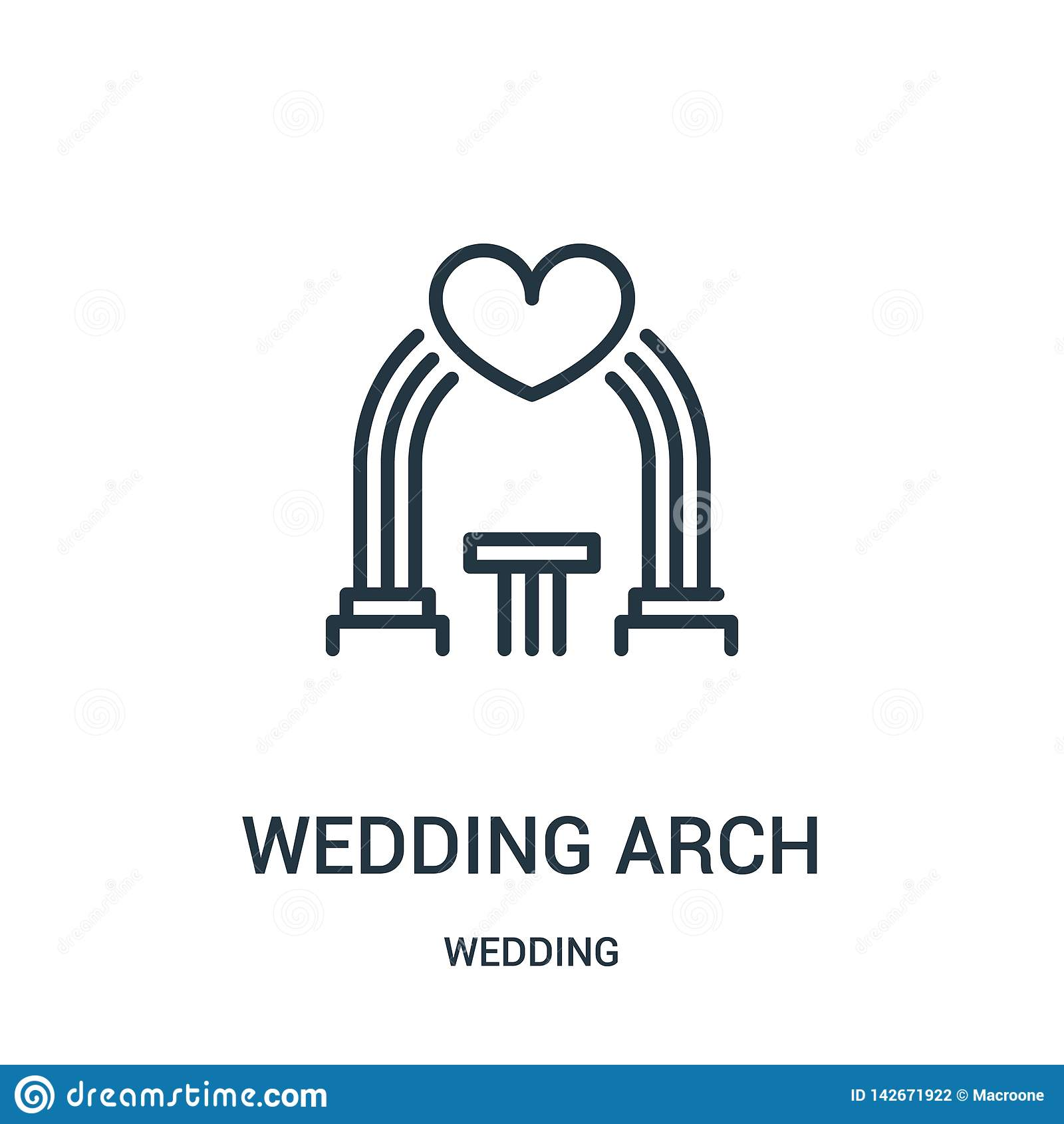 Het pictogramvector van de huwelijksboog van huwelijksinzameling Dunne van het de boogoverzicht van het lijnhuwelijk het pictogra