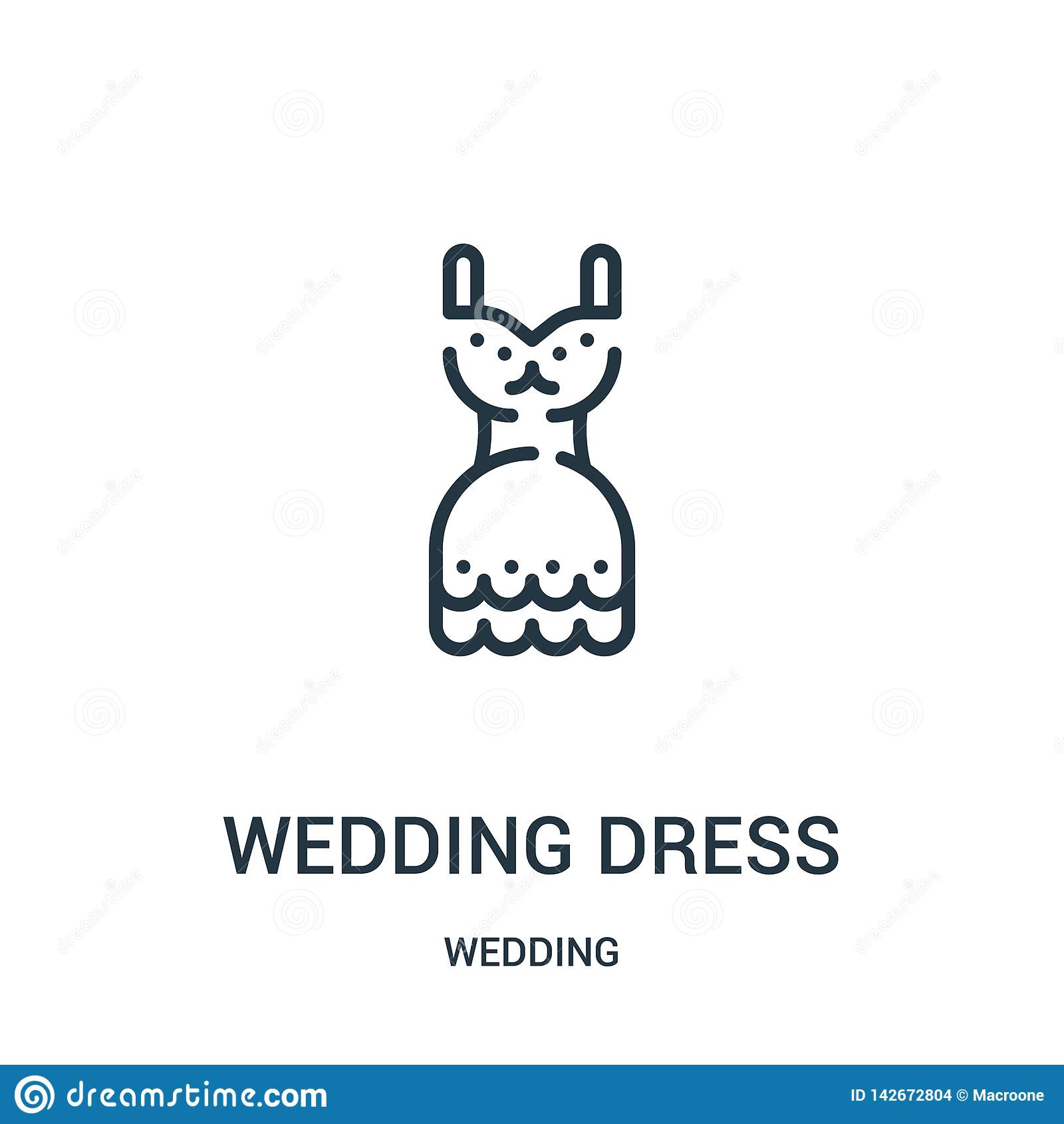 Het pictogramvector van de huwelijkskleding van huwelijksinzameling Dunne van het de kledingsoverzicht van het lijnhuwelijk het p