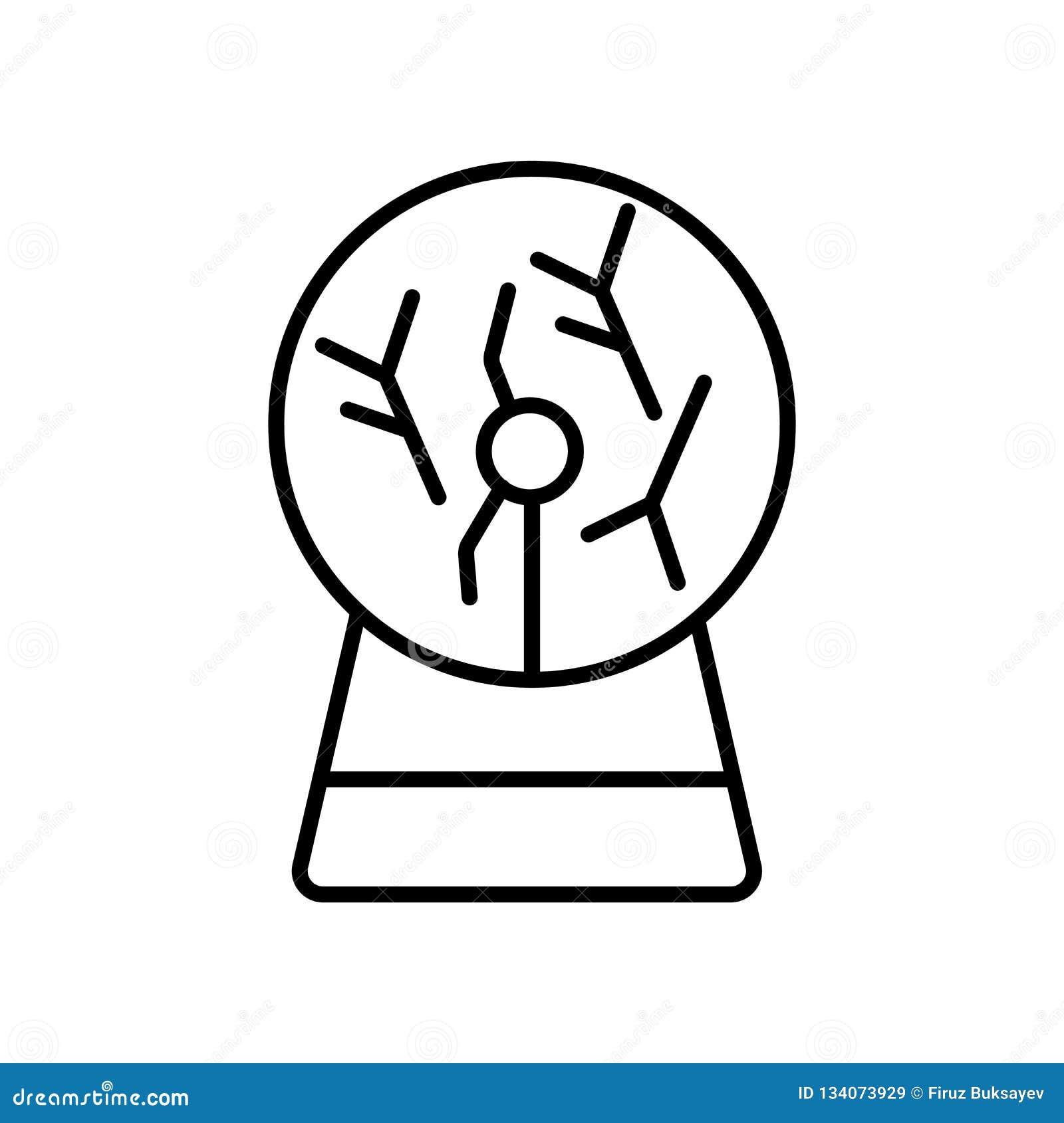 Het pictogramvector van de plasmabal op witte achtergrond, het teken van de Plasmabal, teken en symbolen in dunne lineaire overzi