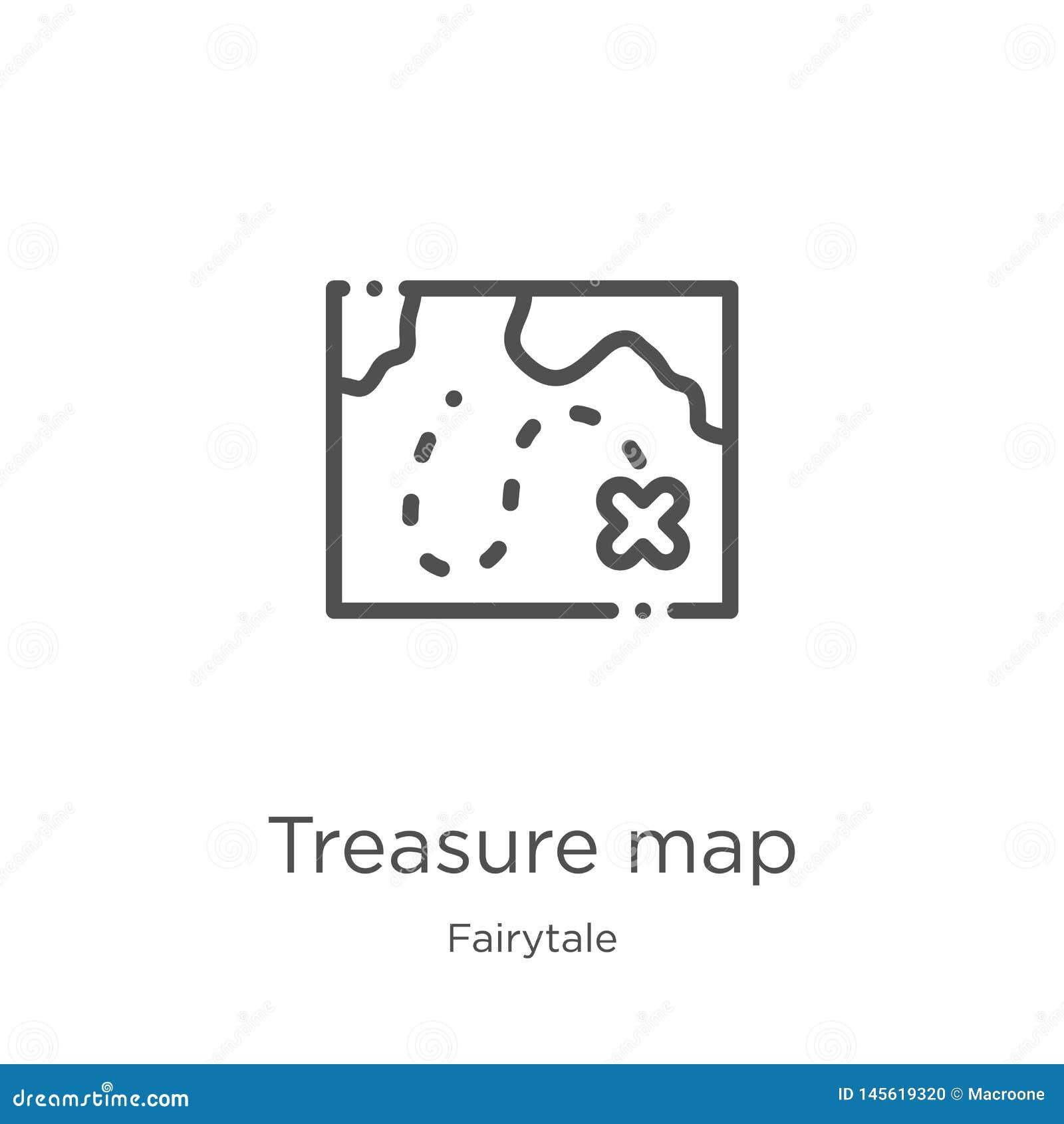 Het pictogramvector van de schatkaart van fairytaleinzameling Dunne van het de kaartoverzicht van de lijnschat het pictogram vect