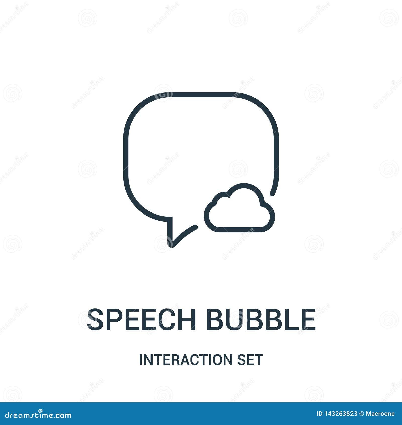 Het pictogramvector van de toespraakbel van interactie vastgestelde inzameling Dunne van het de bellenoverzicht van de lijntoespr