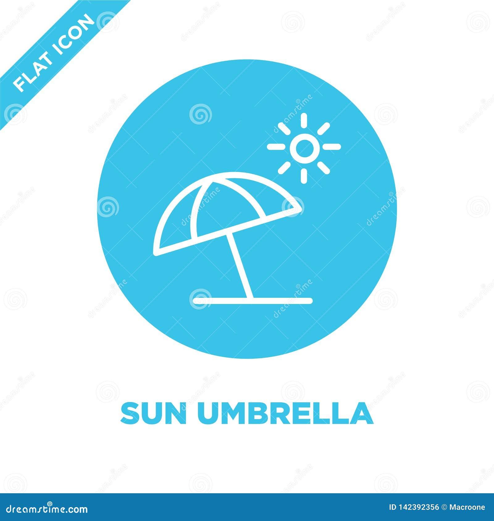 Het pictogramvector van de zonparaplu van seizoeneninzameling Dunne van het de parapluoverzicht van de lijnzon het pictogram vect