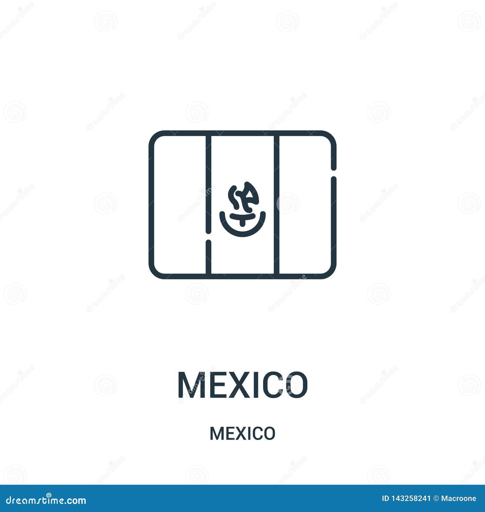 Het pictogramvector van Mexico van de inzameling van Mexico De dunne van het het overzichtspictogram van lijnmexico vectorillustr