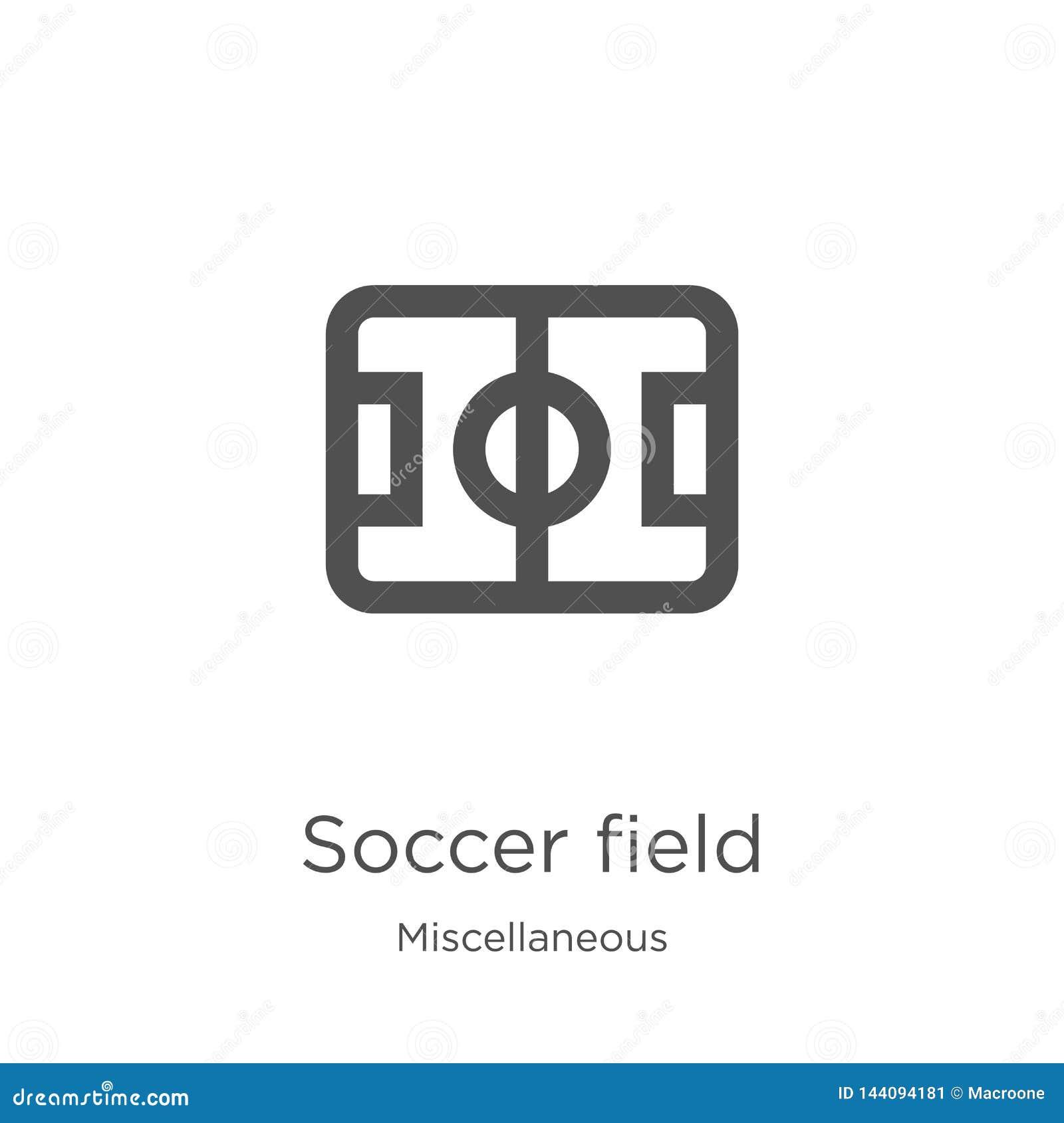 Het pictogramvector van het voetbalgebied van diverse inzameling Dunne van het het gebiedsoverzicht van het lijnvoetbal het picto
