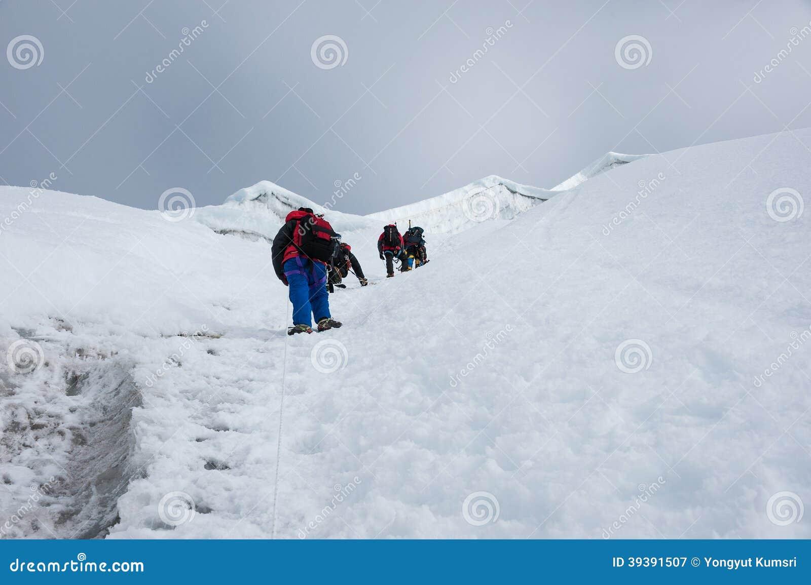 Het piek beklimmen van het Lobucheoosten, Everest-gebied, Nepal
