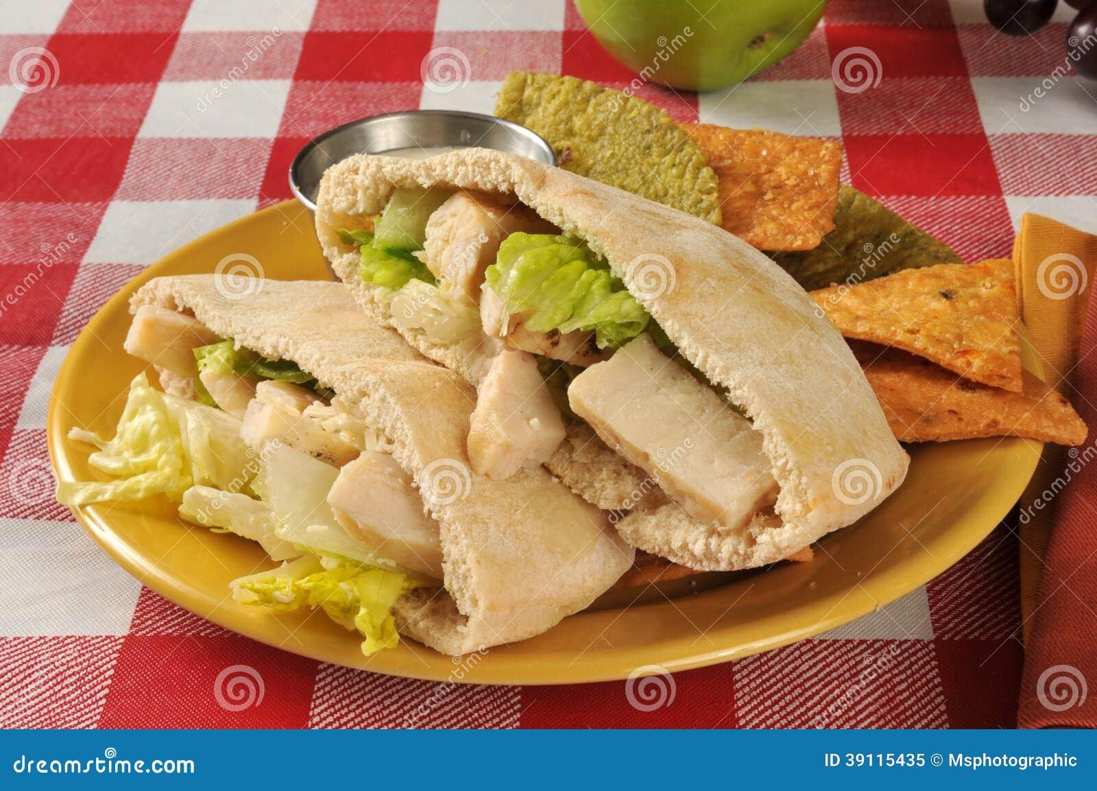 Het pitabroodjesandwich van kippencaesar