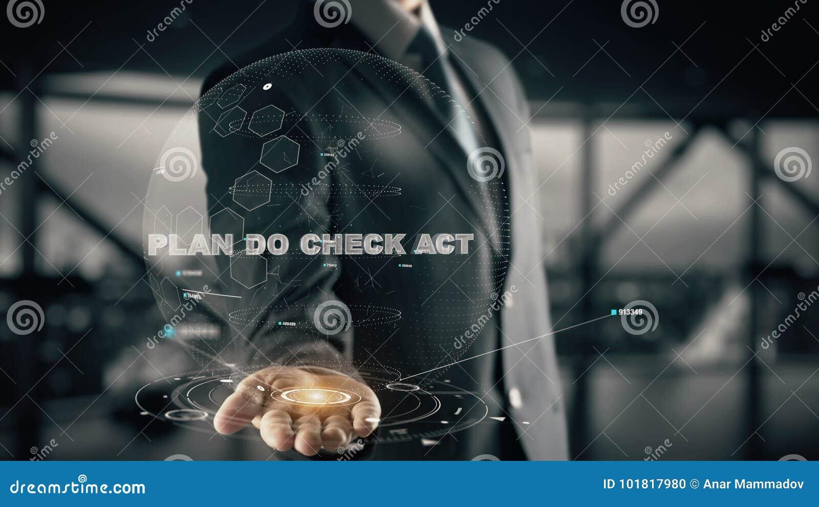 Het plan controleert Akte met het concept van de hologramzakenman