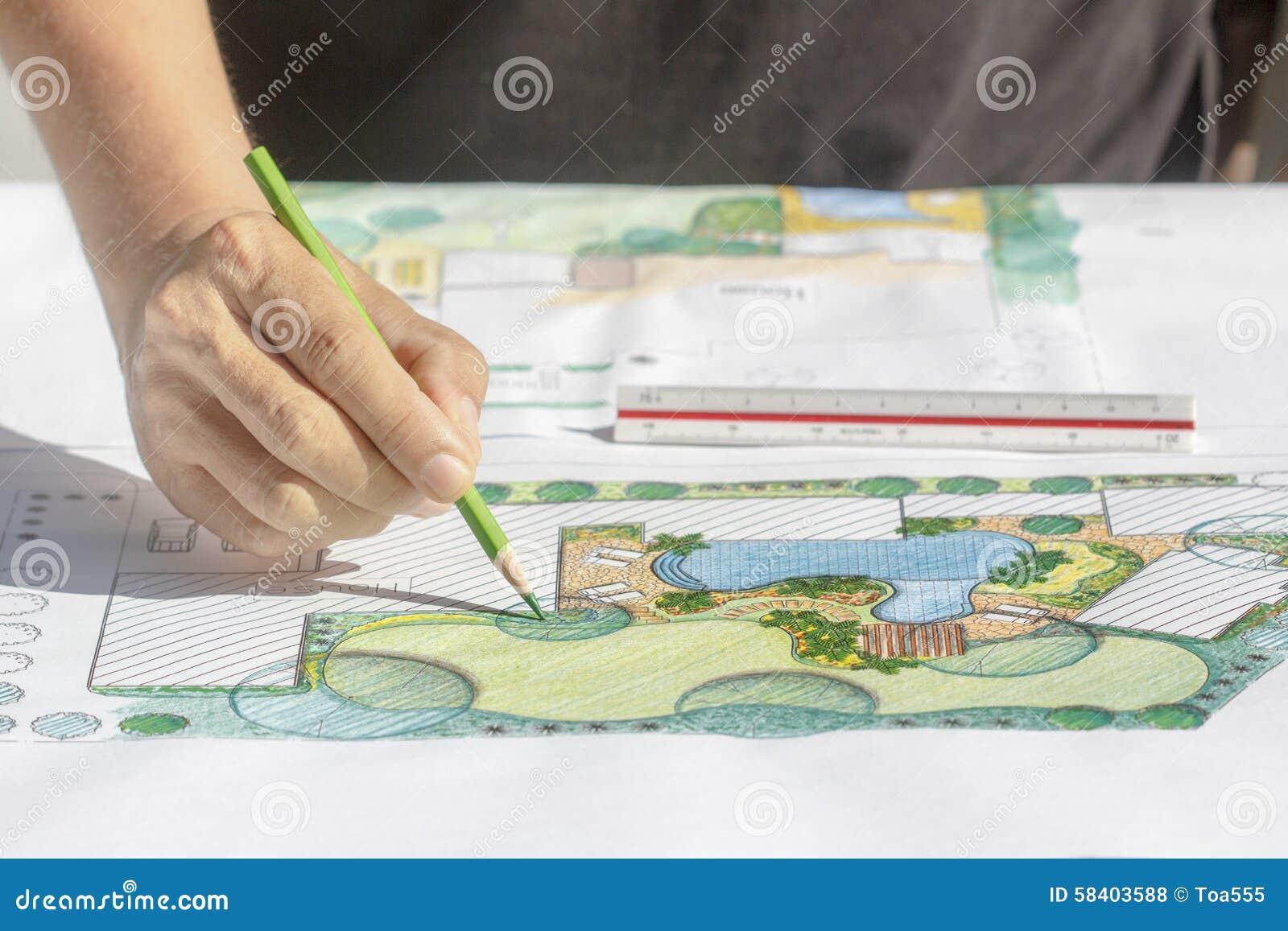 Het plan van de het ontwerpbinnenplaats van de landschapsarchitect voor villa