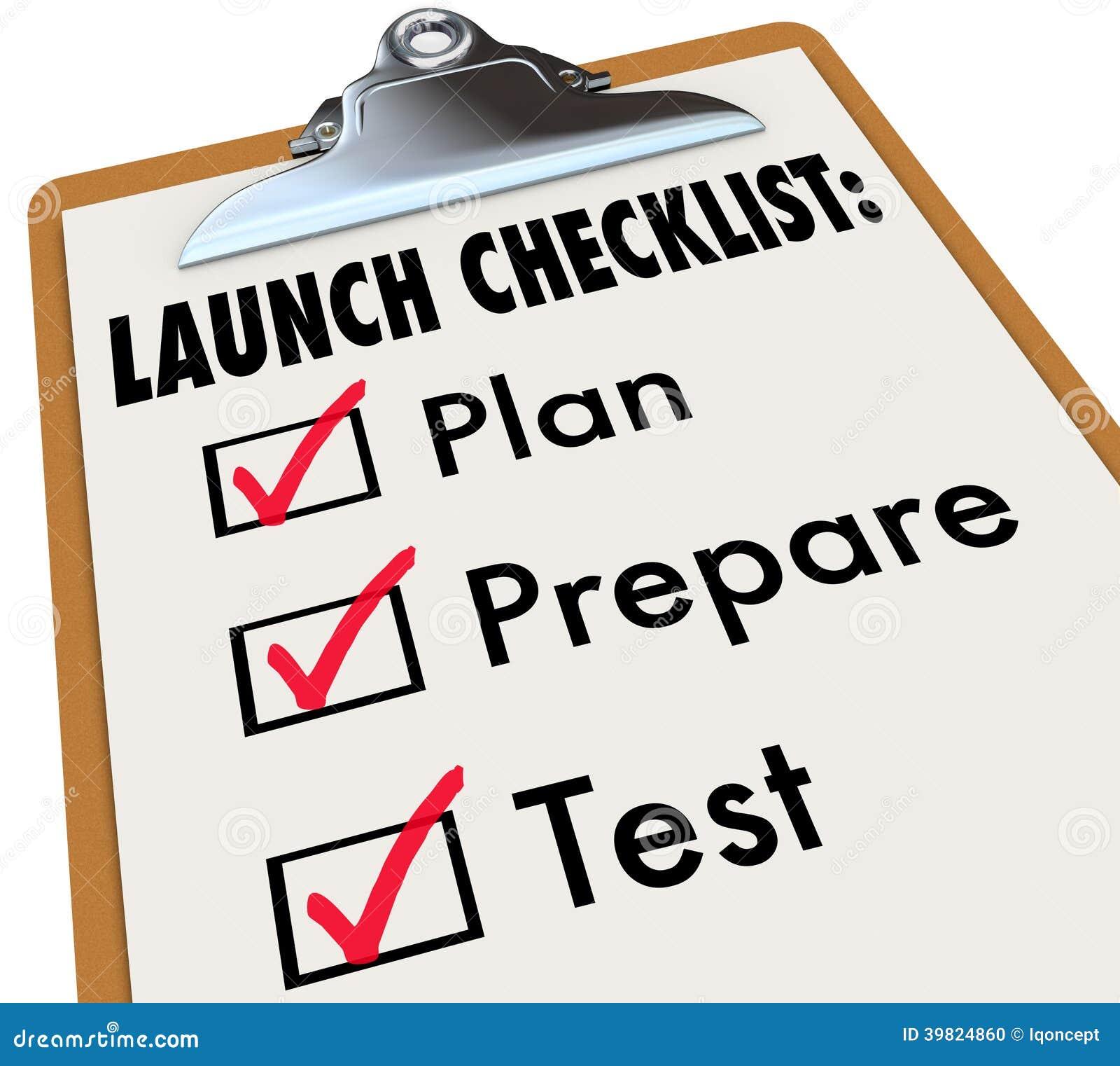 Het Plan van de lanceringscontrolelijst bereidt de Zaken van het Test Nieuwe Product voor