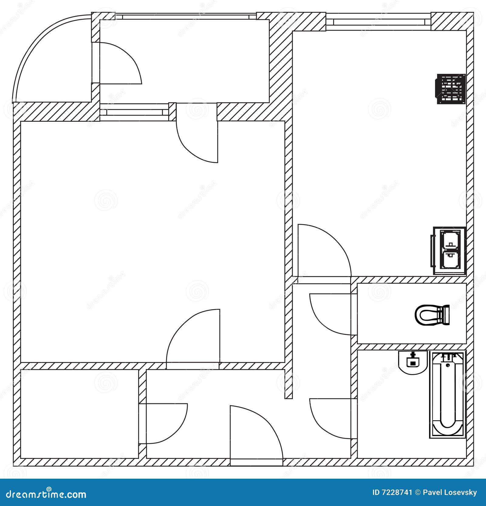 Het planvector van het huis stock afbeelding afbeelding 7228741 - Amenager een voorgerecht van het huis ...
