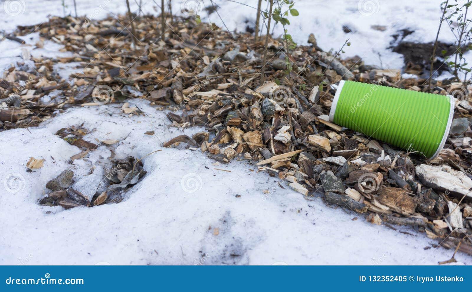 Het plastiek haalt koffiekop als afval op sneeuw weg