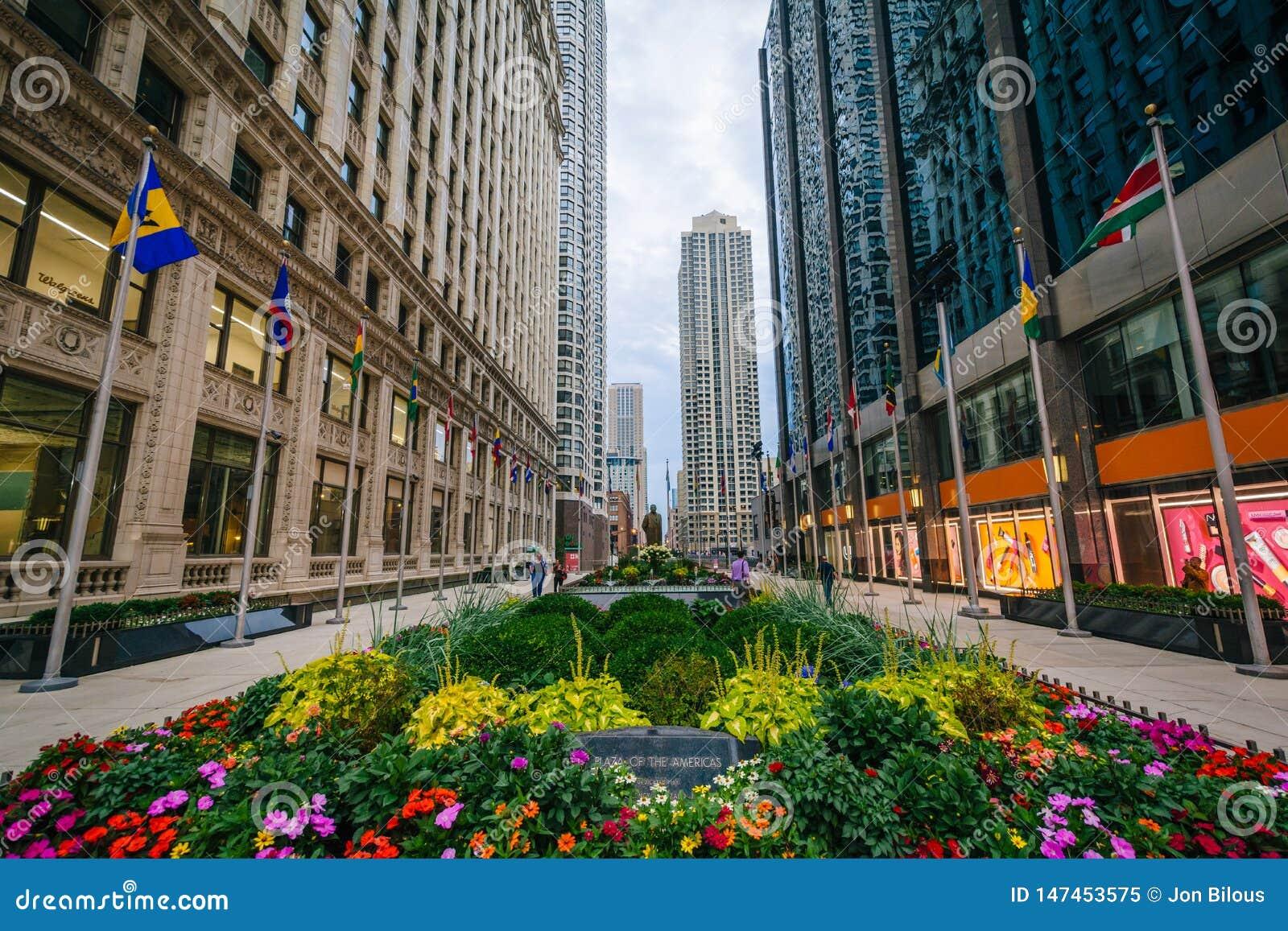 Het Plein van de Amerikanen, in Chicago, Illinois