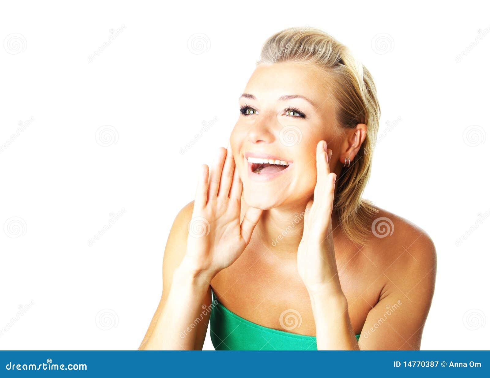 Het portret van de close-up van een gelukkige jonge dame