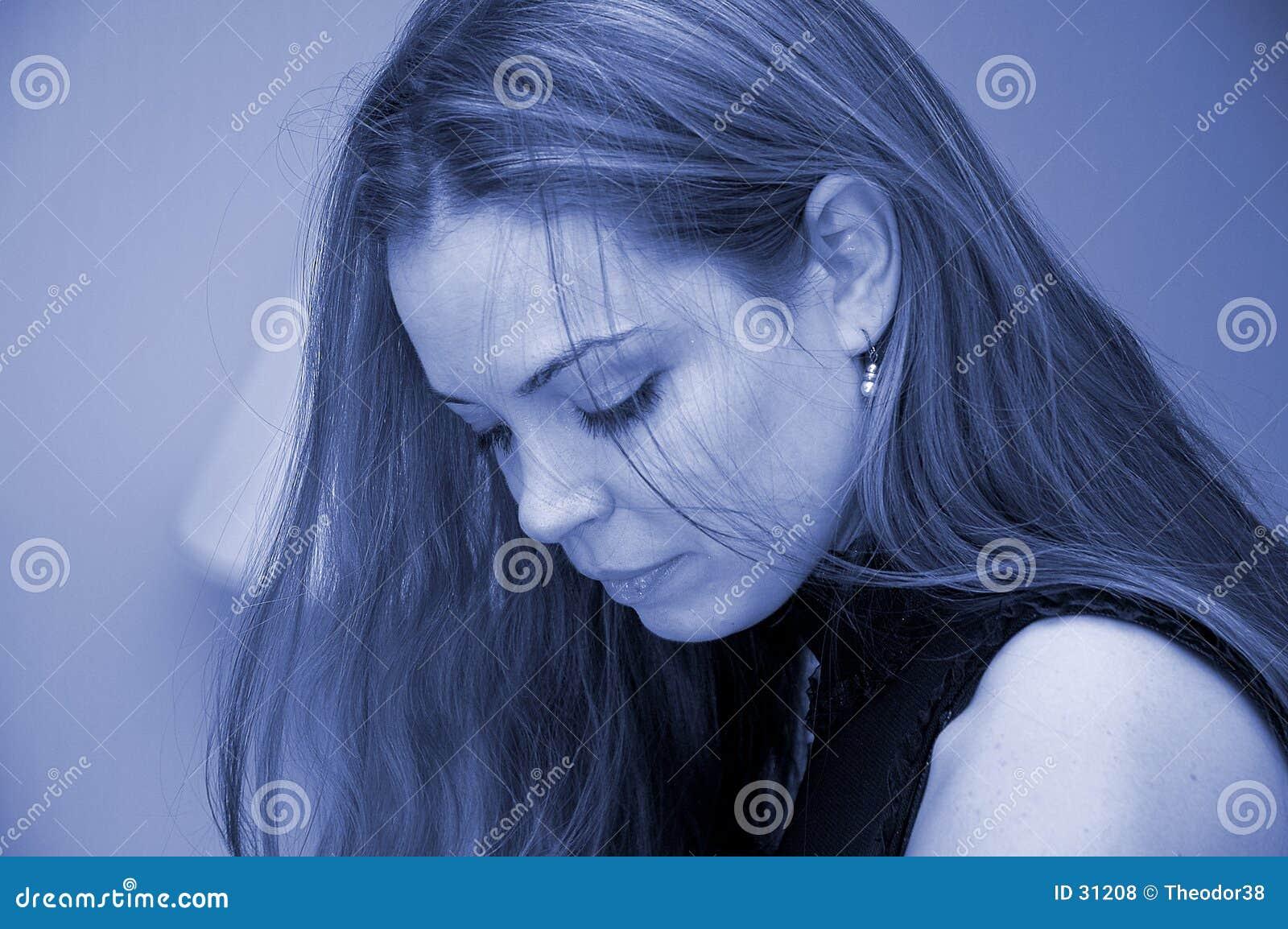 Het portret van de vrouw in blauw