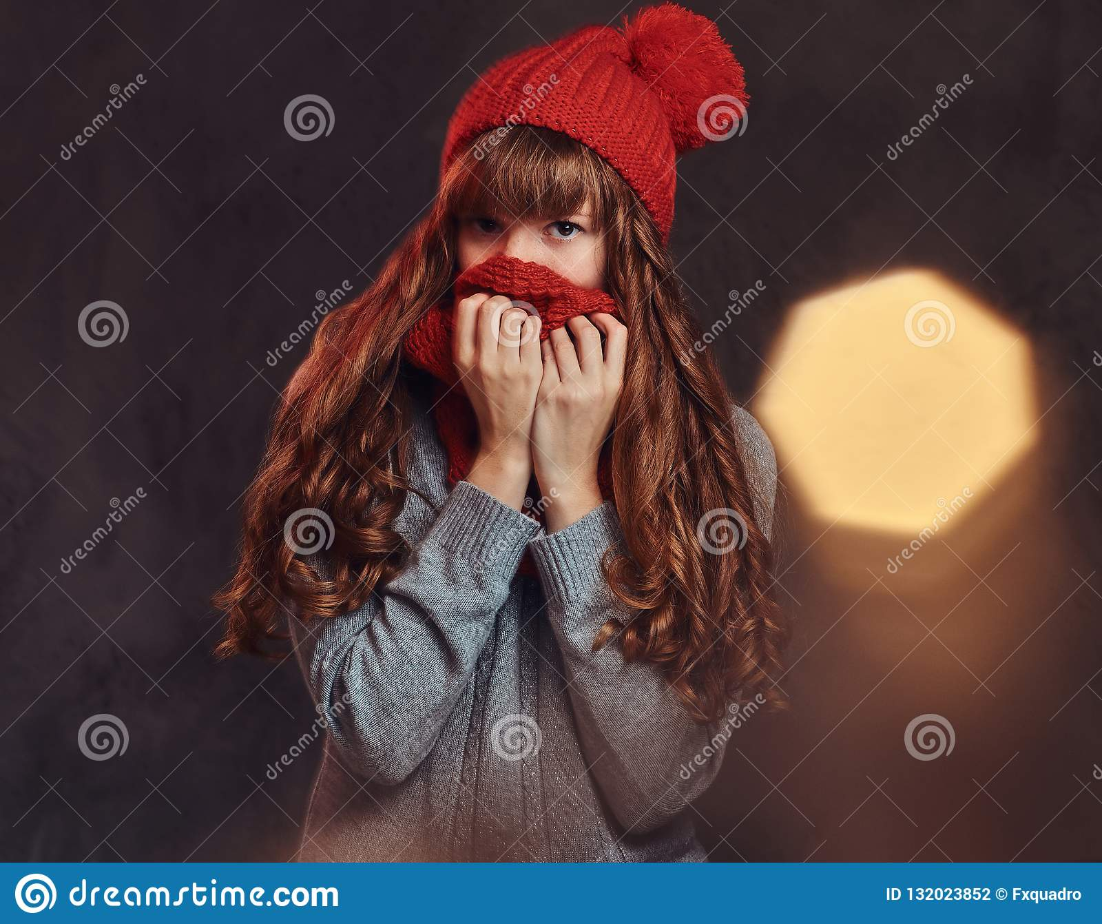 Het portret van een mooi roodharigemeisje die een warme sweater dragen, behandelt haar gezicht met een sjaal