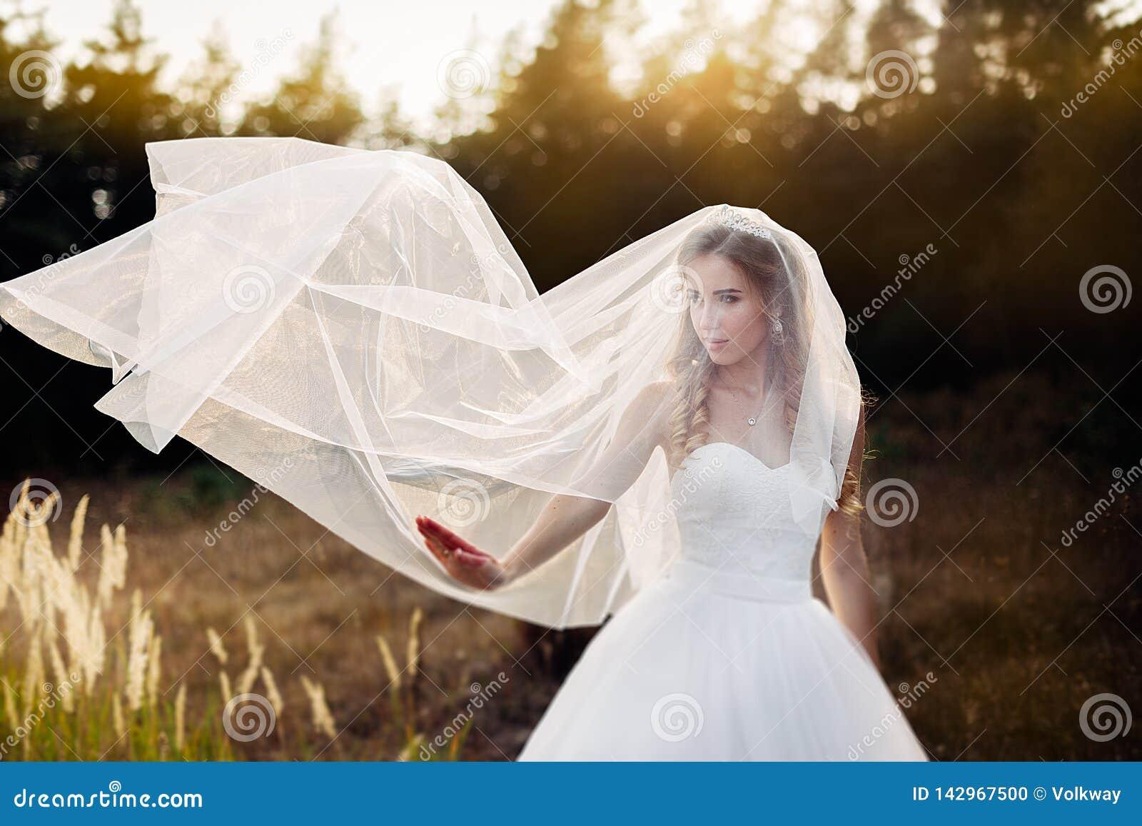 Portret Van Jonge Mooie Bruid In Diadeem Met Naakte