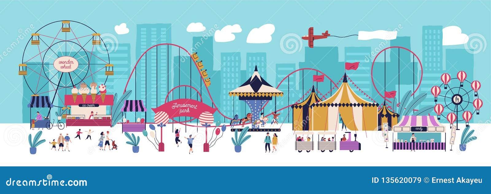 Het pretpark met diverse aantrekkelijkheden, circus, ferris rijdt, carrousel, achtbaan, kiosken met suikergoed en ijs