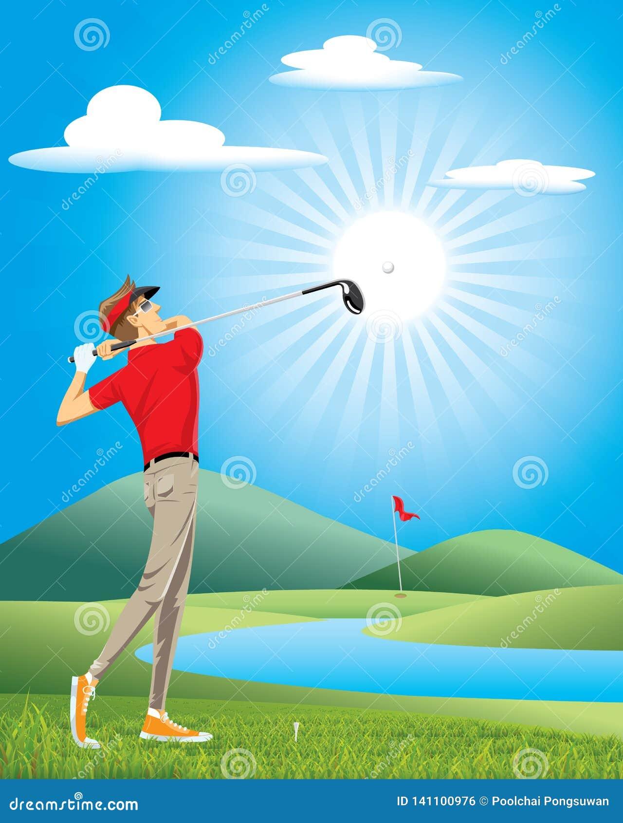Het professionele golf van het golfspelerspel op de groene cursus