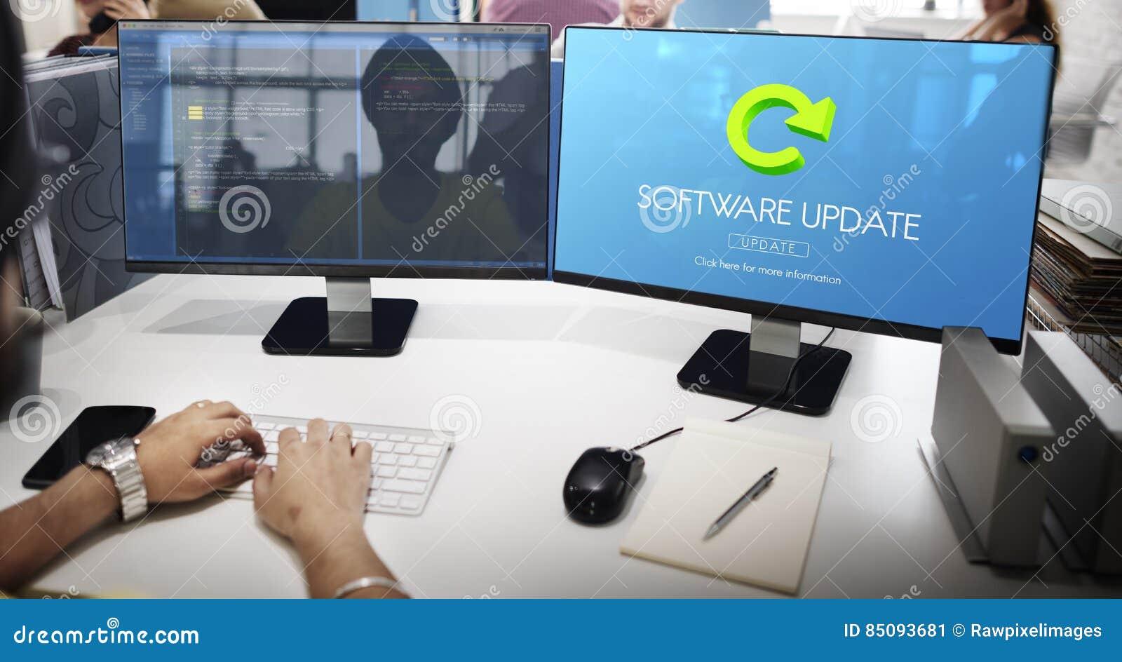 Het Programma Digitaal Verbetering van de softwareupdate Concept